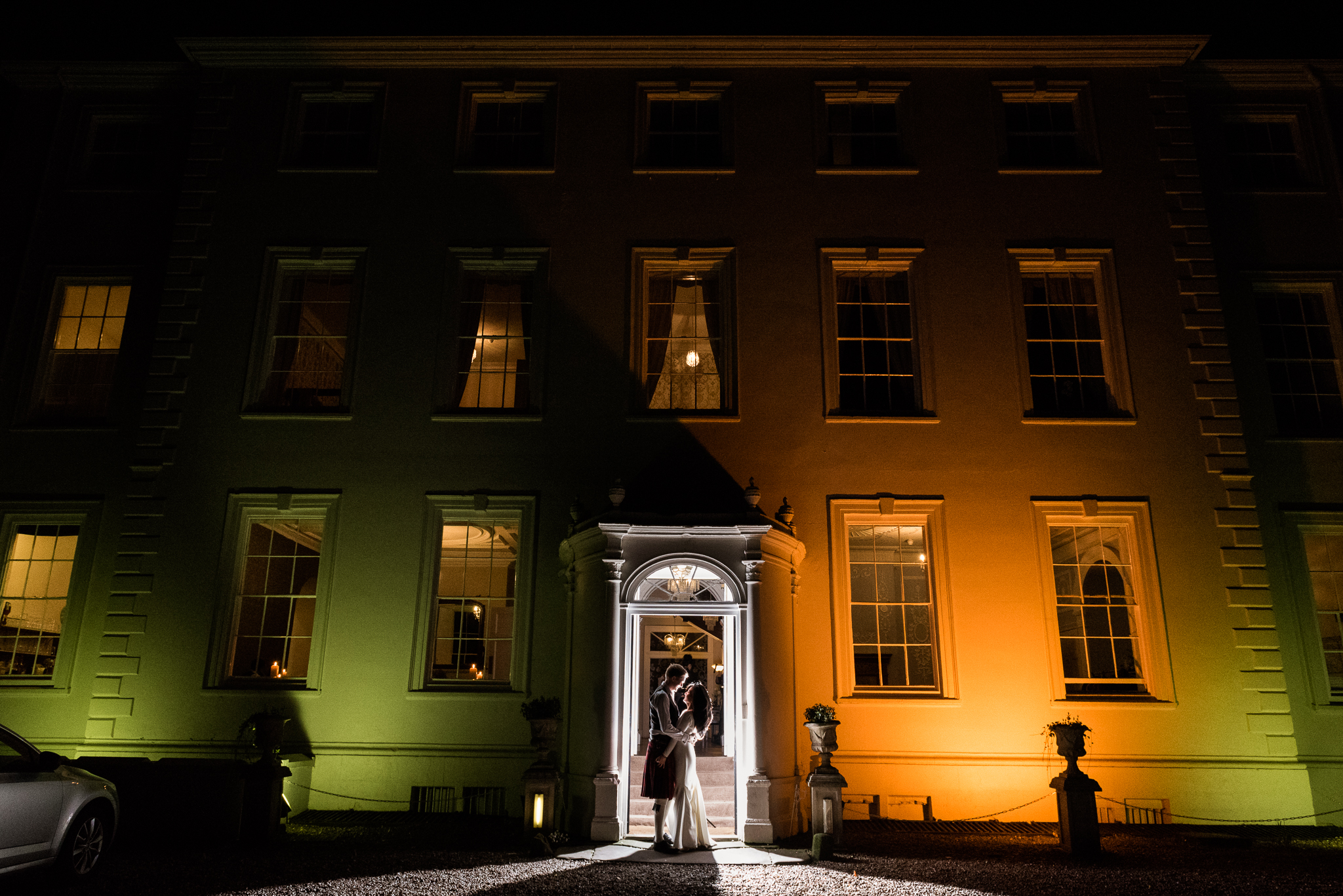 English Winter Wedding Photography at Somerford Hall, Staffordshire Red Bus Double Decker Kilts Bagpiper-71.jpg