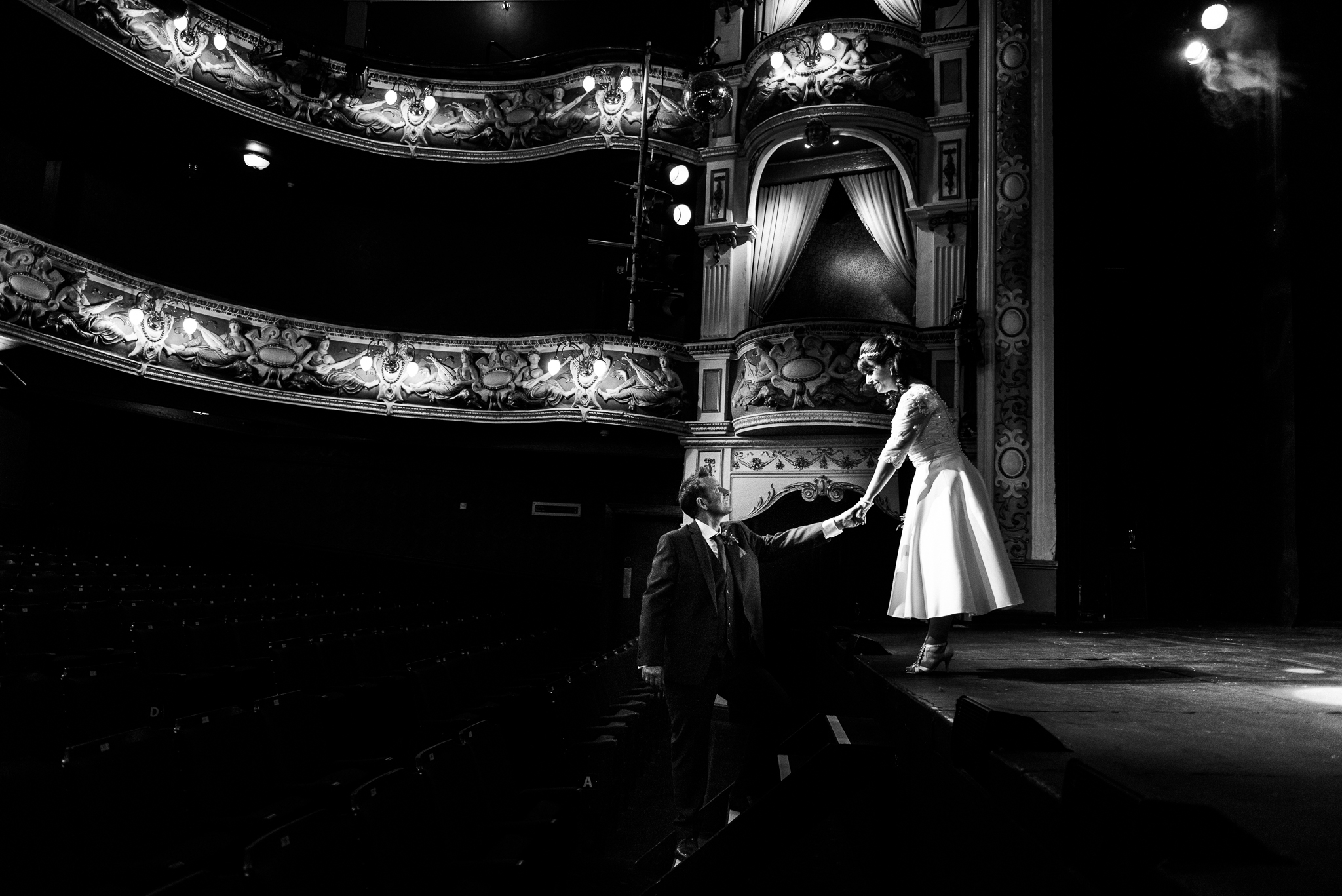 Cheshire Wedding Photography at Crewe Lyceum Theatre Stage Wedding Art Deco 20s - Jenny Harper-29.jpg