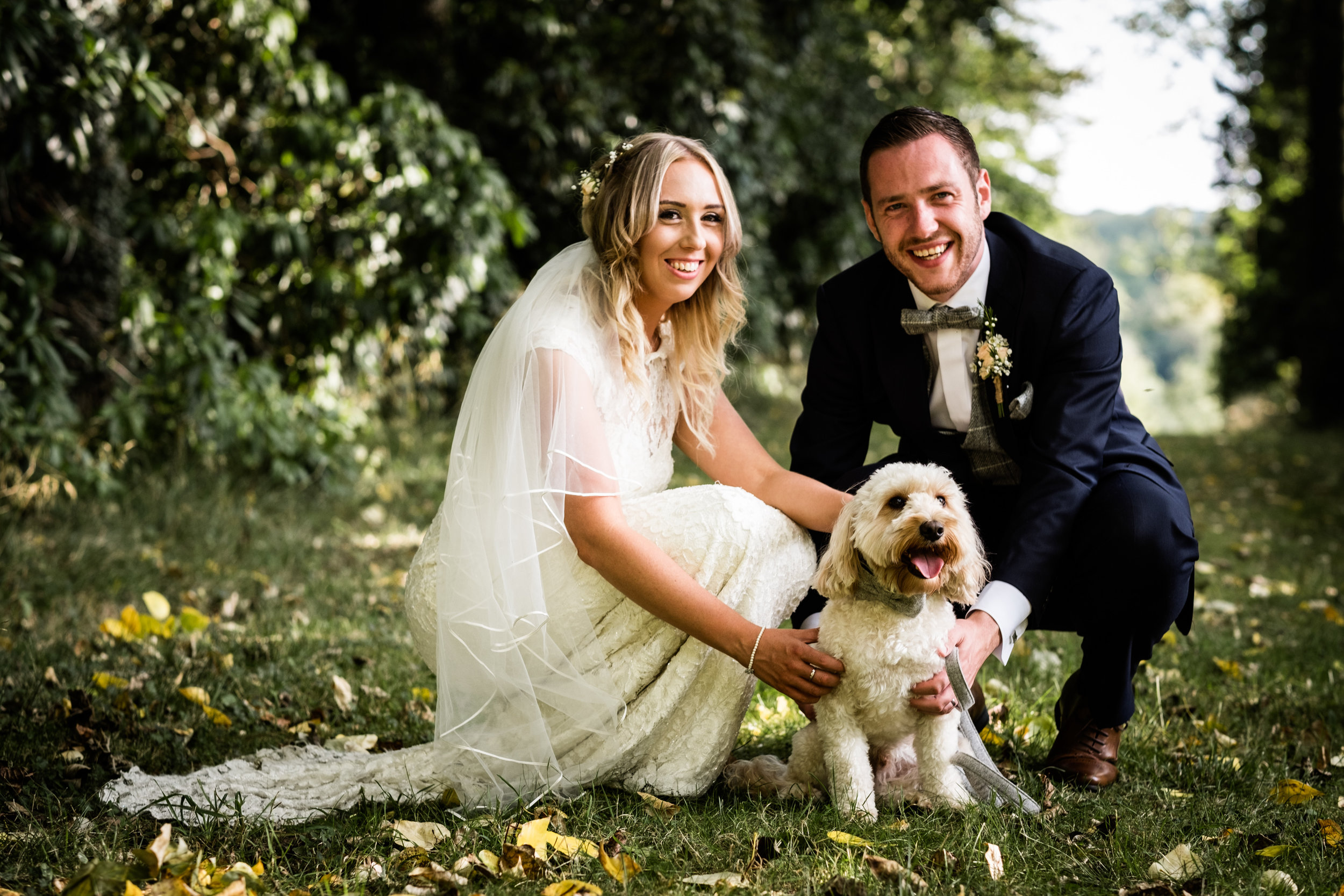 Summer Documentary Wedding Photography at Consall Hall Gardens Outdoor Ceremony Cockapoo dog - Jenny Harper-60.jpg