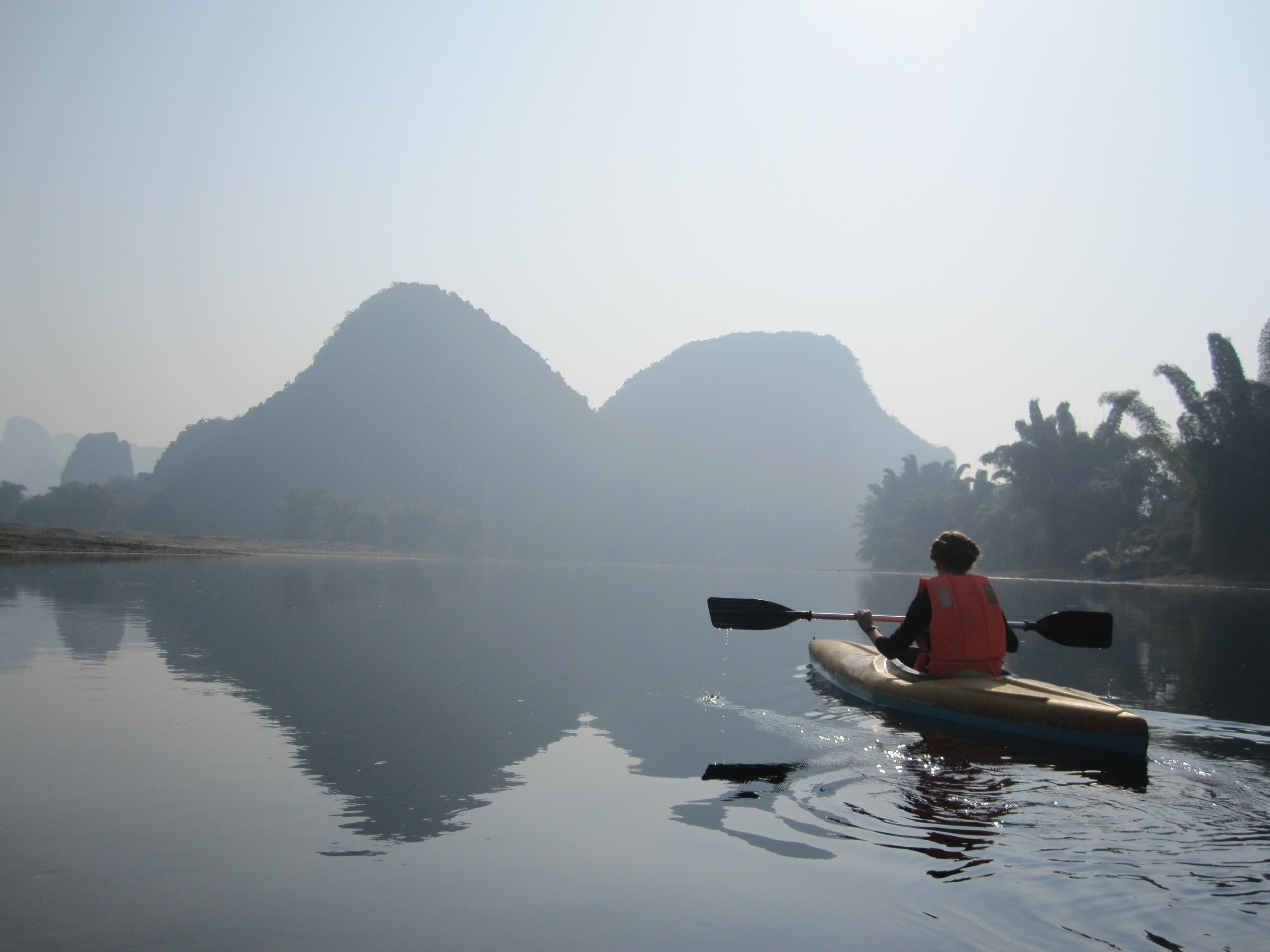 Kayaking along the Li river.
