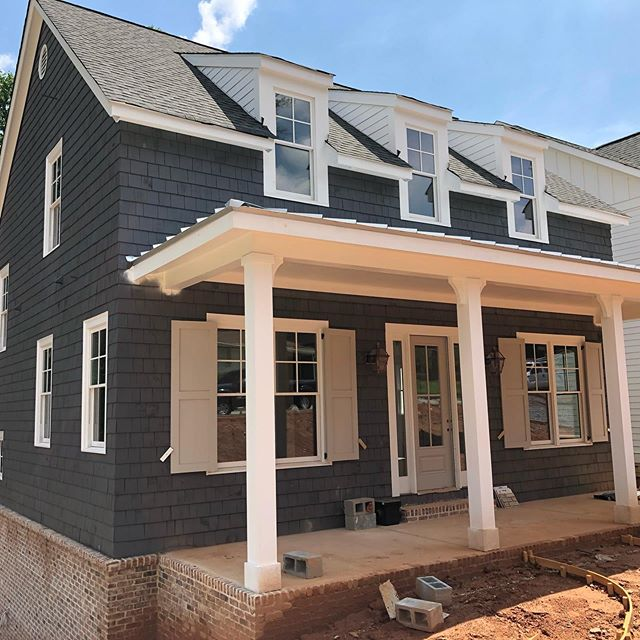 Progress at The Live Oak. In Hayes Walk at Forest Hills, Smyrna. . . . #farmhouse #cedar #frontporchliving #frontporch #southerncharm #southernliving #building #homebuilding #homedesign #newhome #jwhallbuild #smyrna