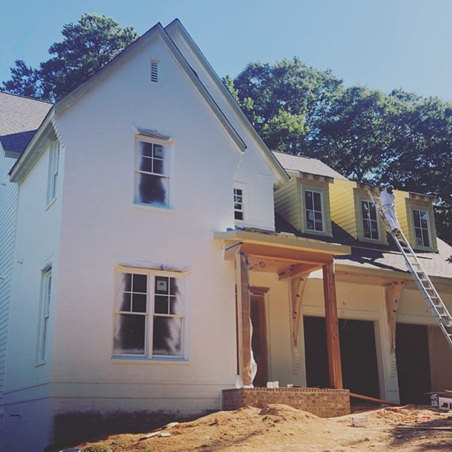 Lovely 1094 Mantissa coming into it's own.  Keeping it natural with the wood accents . . . #realwood #homedesign #brick #brickhouse #paintedbrick #cedar #windows #house #beams #herringbonefloor #hardwoods #whitehouse #jwhallbuild #underwoodhills #atlantahomes #upperwestside #westside #westmidtown