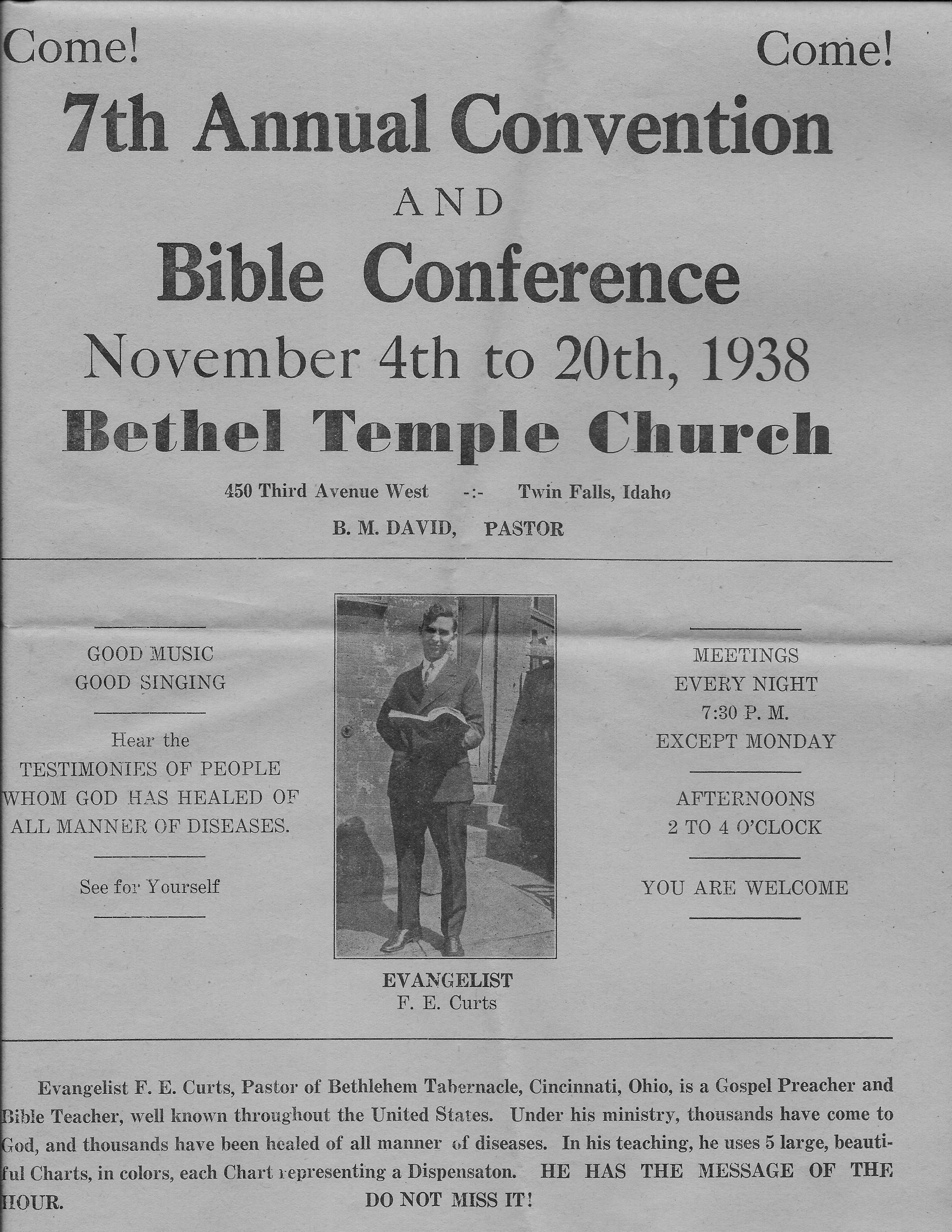 7th Annual Convention and Bible Conference 1938