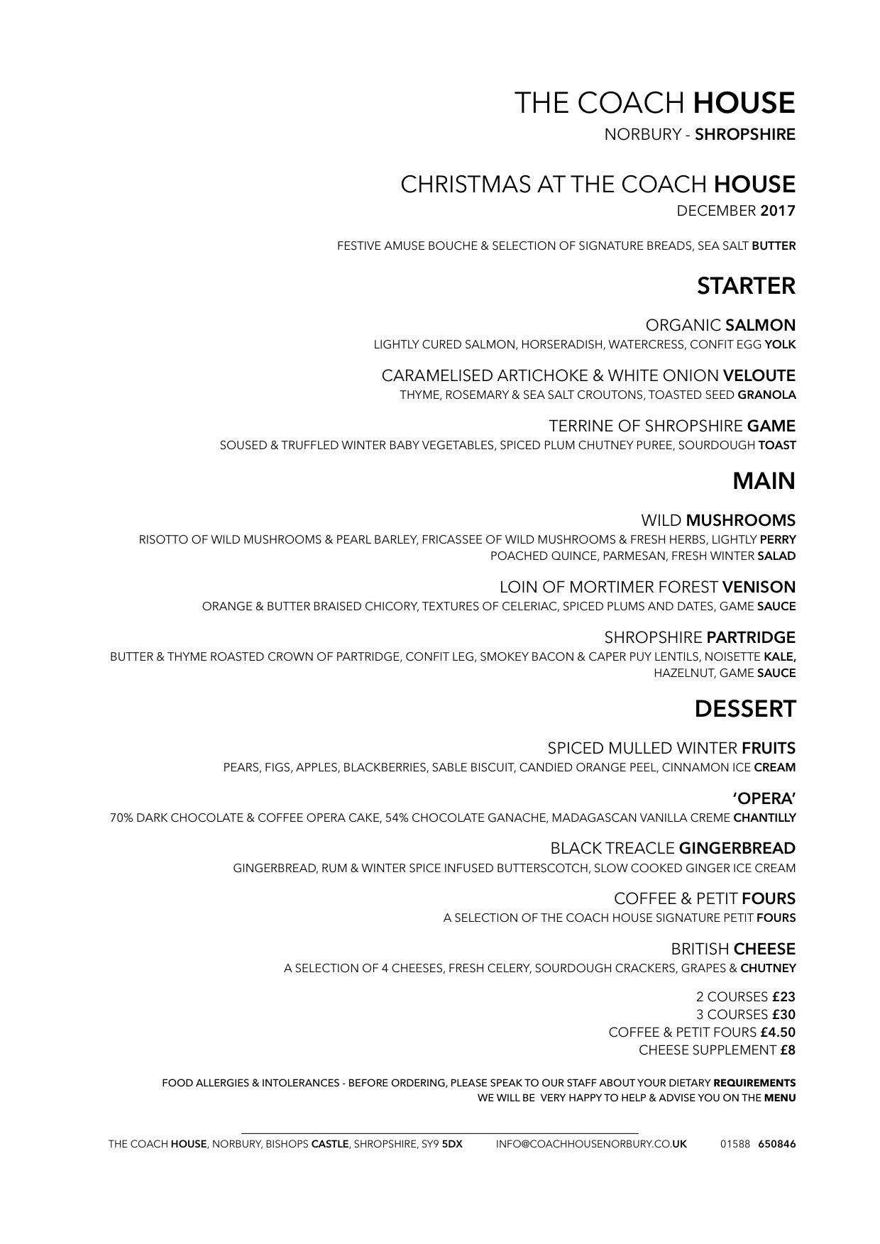 Christmas dinner menu 2017