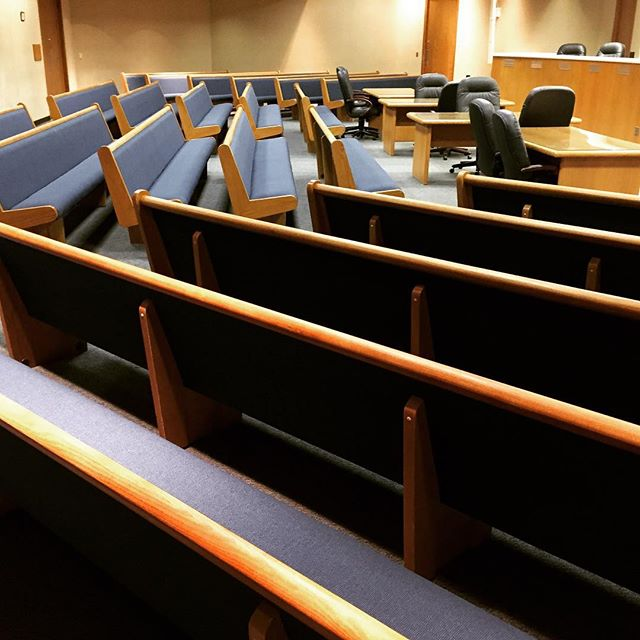 The benches of City Hall in Independence, Missouri received a complete overhaul from Forte.  New foam, fabric and wood finish!  #fortedesignandupholstery #fortekc #upholstery