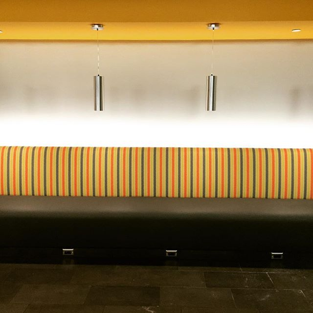 Forte Design and Upholstery built and installed a custom 15' long banquette for C2FO.  This beast features 8-way tied springs throughout and a recessed LED light bar along the back.  Thanks to Generator Studio and Miller Building Services for including us!  #fortekc #waldokansascity #custombanquette