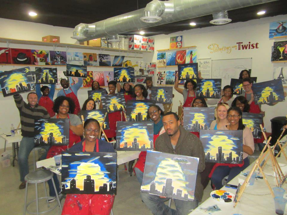 Painting our favorite city at Painting with a Twist