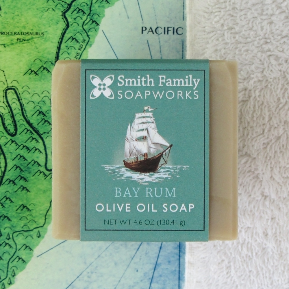 Bay Rum Olive Oil Soap w map and towel.jpg