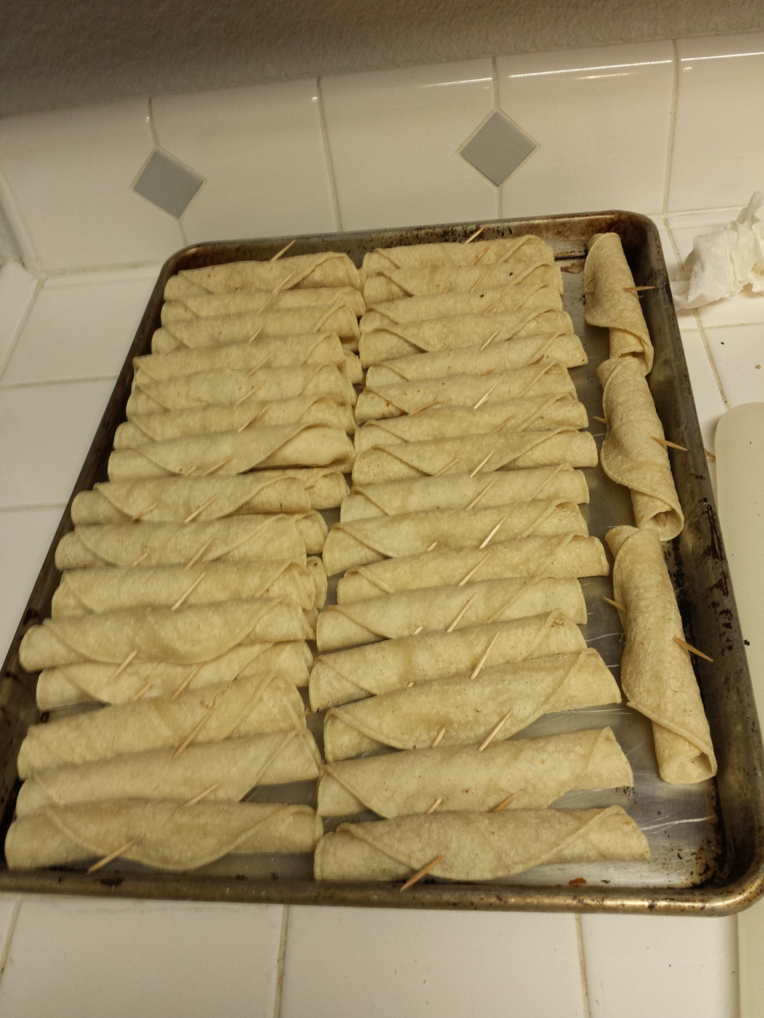 Taquitos ready for deep frying