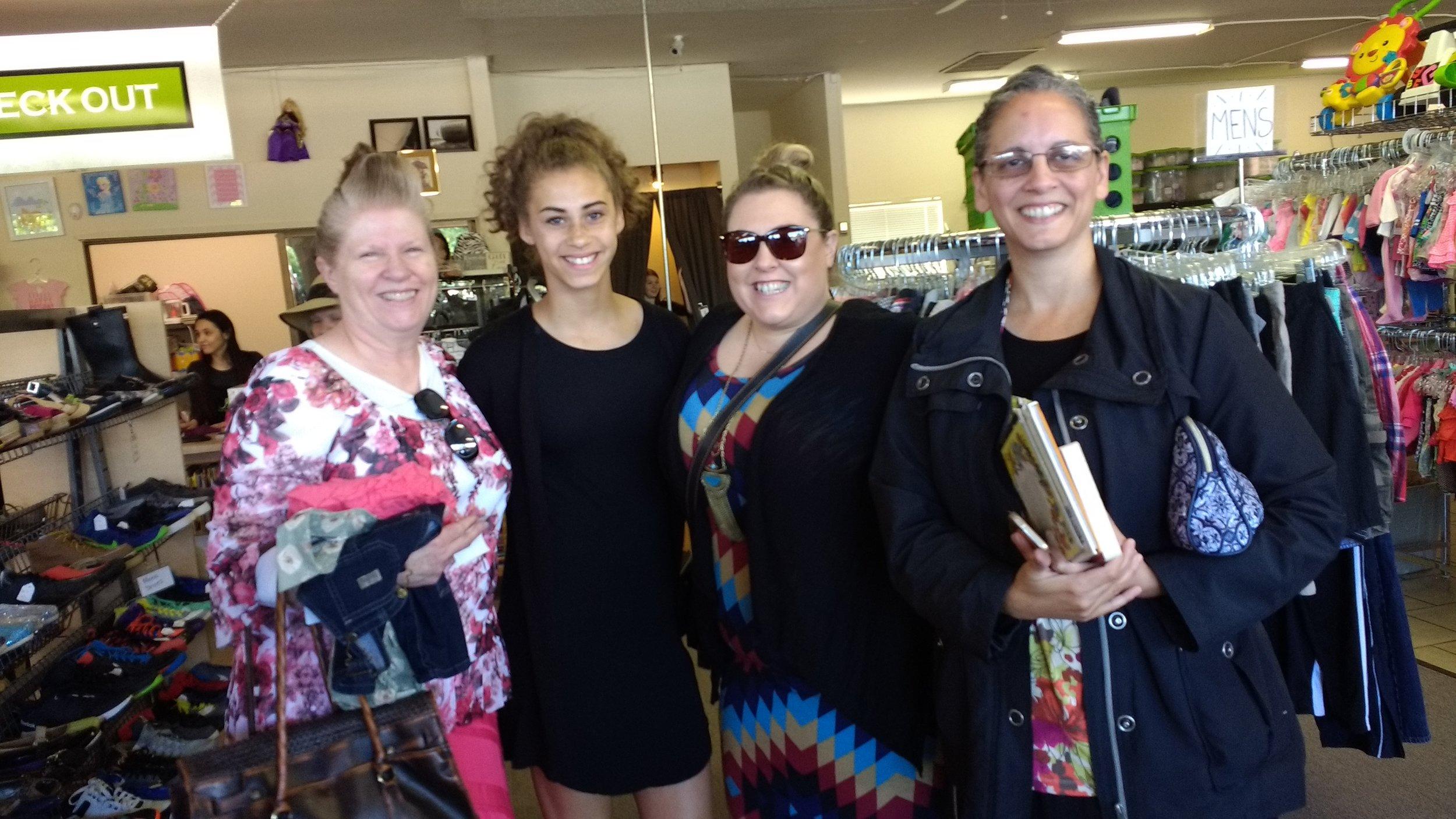 Sis. Green, granddaughter Mira, daughter Cari and Sis. Loretta at That Baby Store