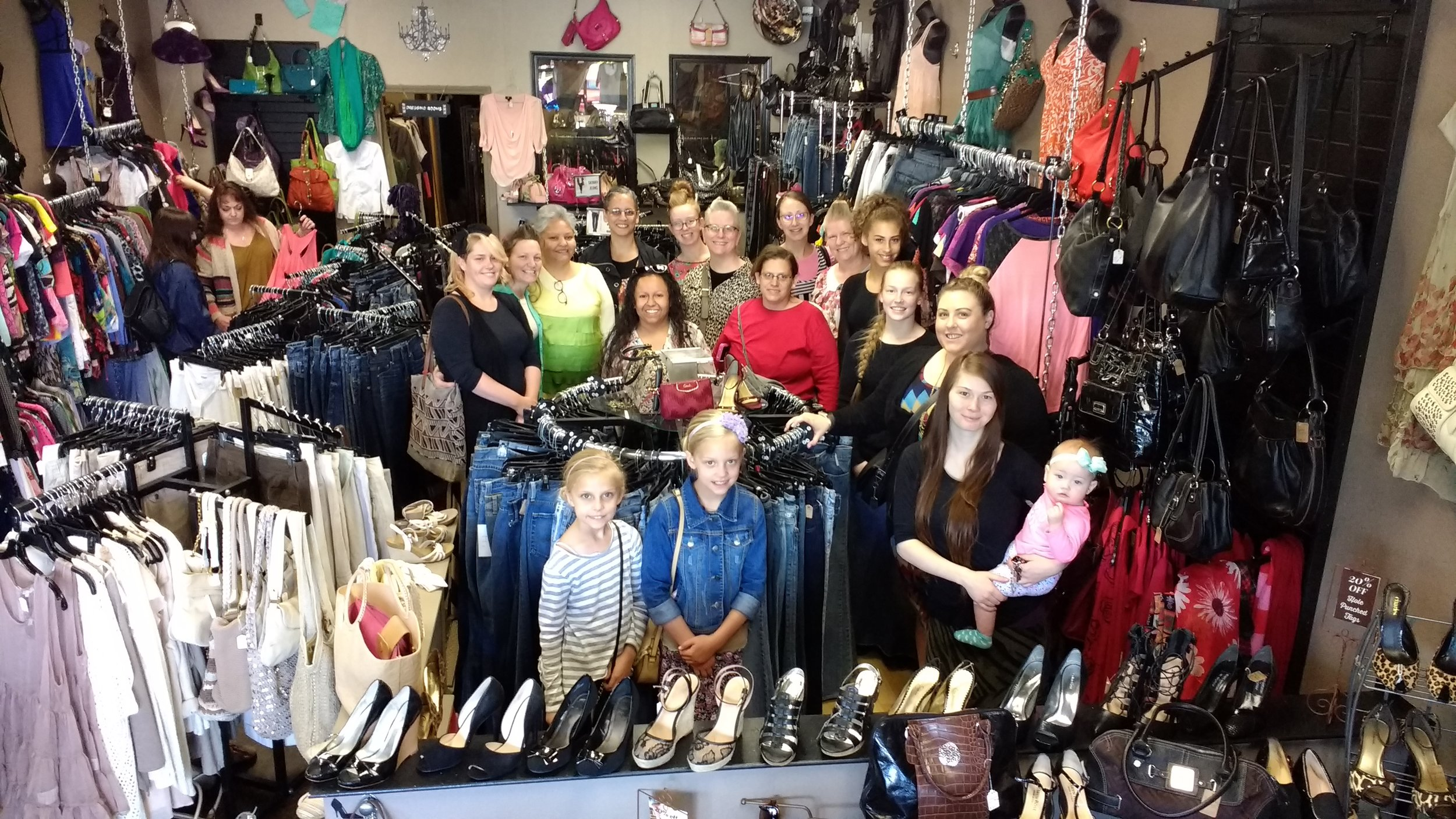 The owner of The Kat Walk, was so kind as to take a group picture of all the ladies who went shopping that day. Thank you.