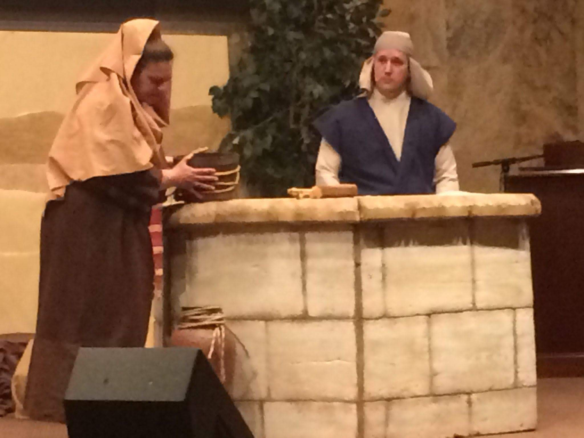 Sis. Jamie as the woman at the well    Bro. Jonathan as Jesus