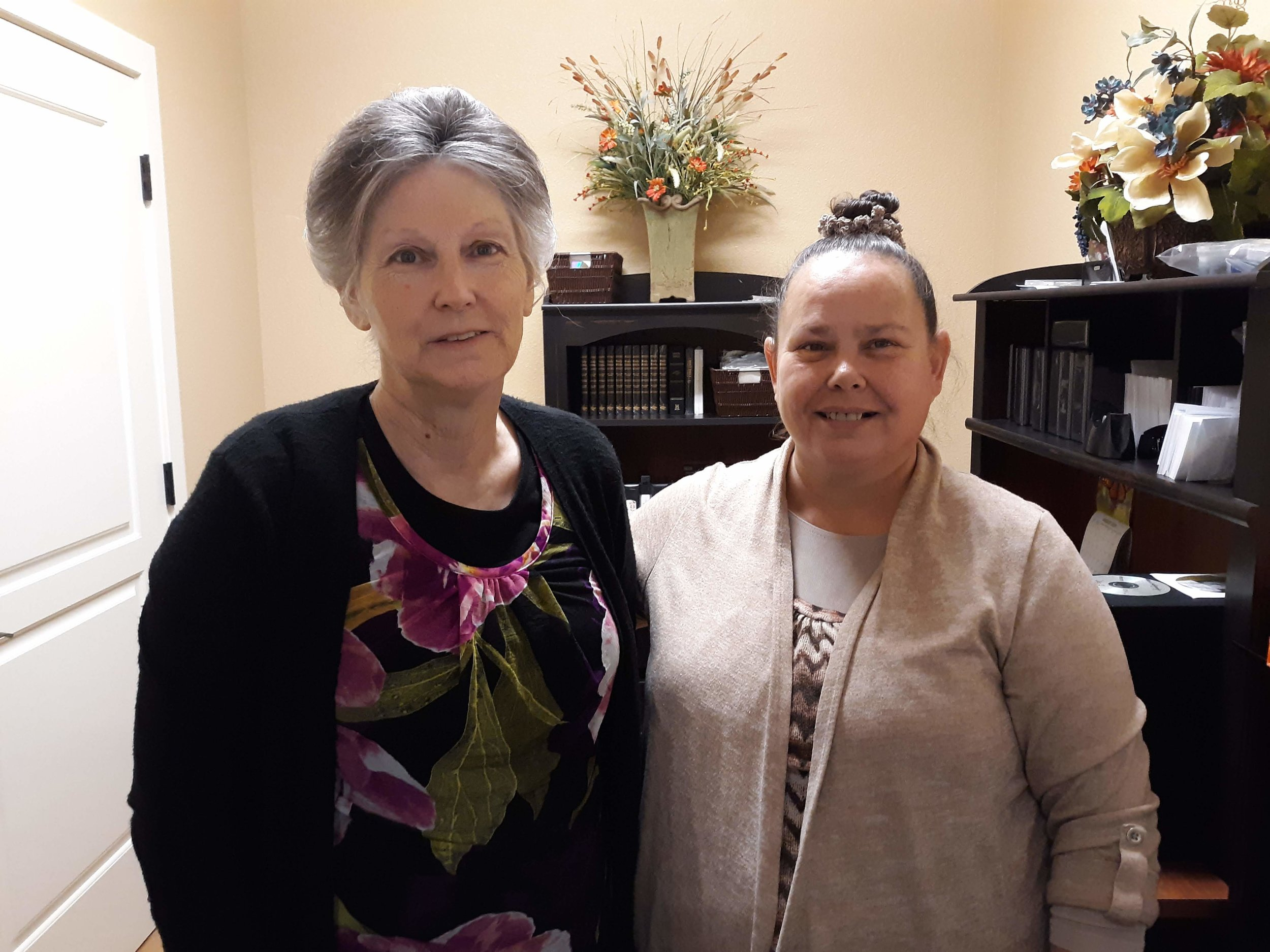 Our Media Department -  Sis. Cynthia and Sis. Julie Ann. Here is where you can purchase CD's, MP3's, books and Bibles.