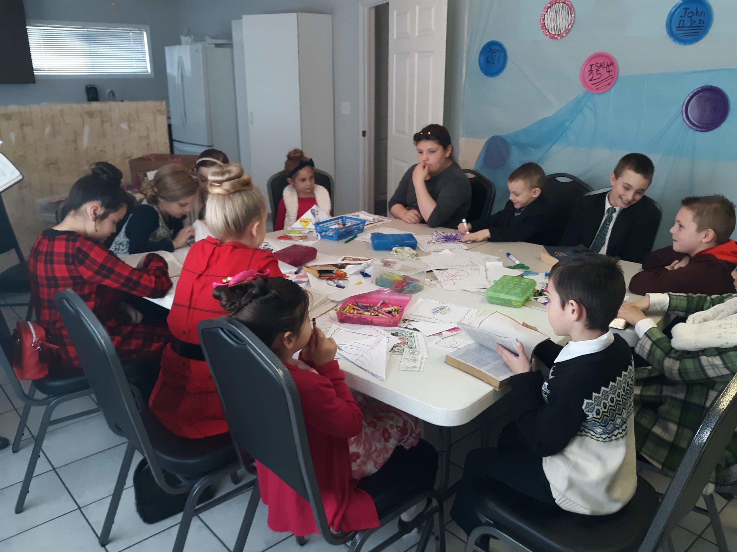 Children learning in Sunday School