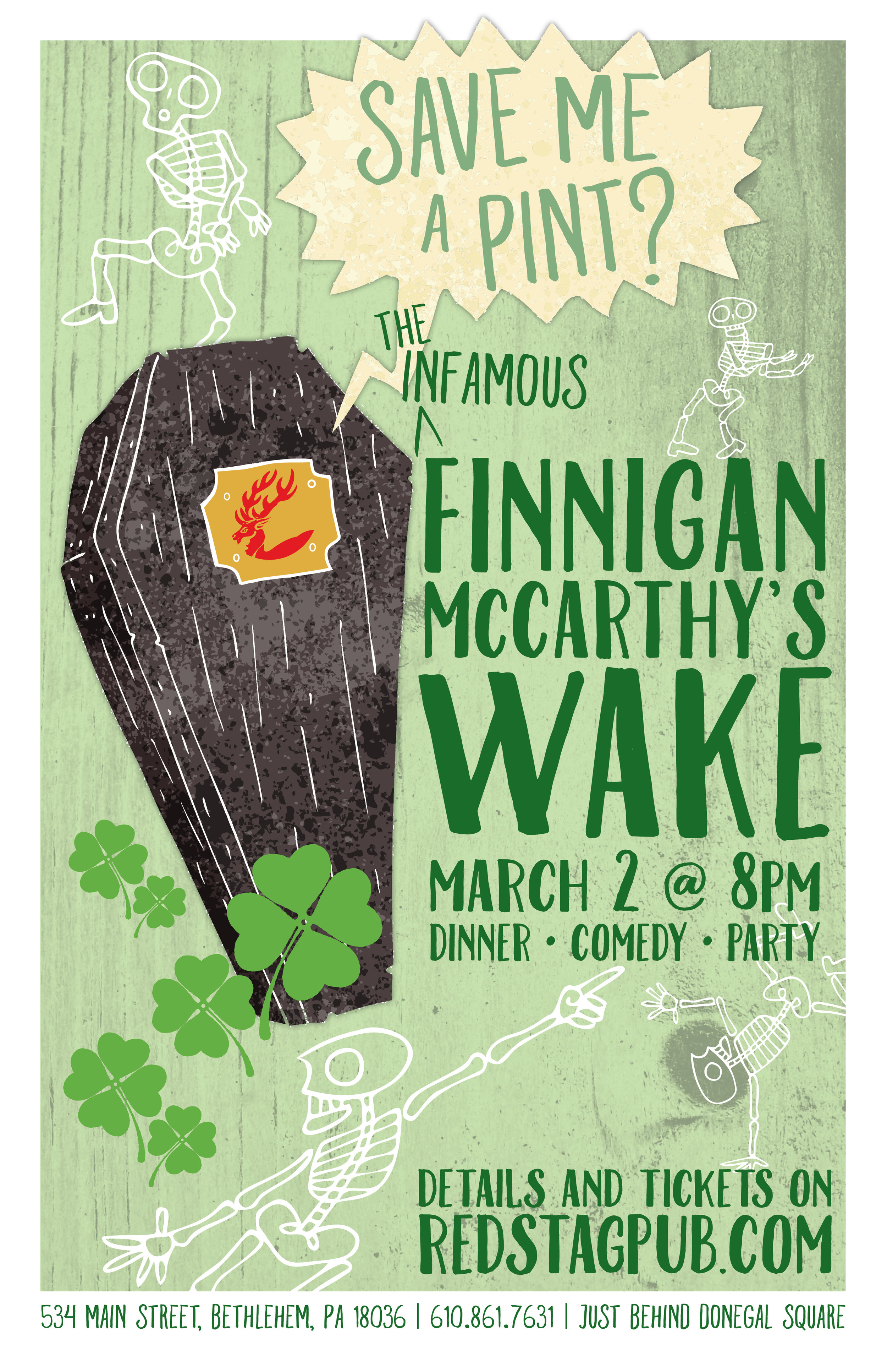 INFAMOUS FINNIGAN MCCARTHY'S WAKE • 11X17 POSTER  CLIENT: McCARTHY'S RED STAG PUB AND WHISKEY BAR