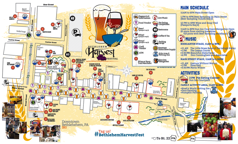 DBA HARVEST FESTIVAL • EVENT MAP + INFORMATIONAL BROCHURE   CLIENT: DOWNTOWN BETHLEHEM ASSOCIATION BRIEF: Create a handout to guide festival goers to the different stops and activities going on, along with listing all participating vendor's information. PLACEMENT: Handout during festival. WORK: ADOBE ILLUSTRATOR + INDESIGN, EVENT PHOTOGRAPHY FROM PREVIOUS FESTIVALS