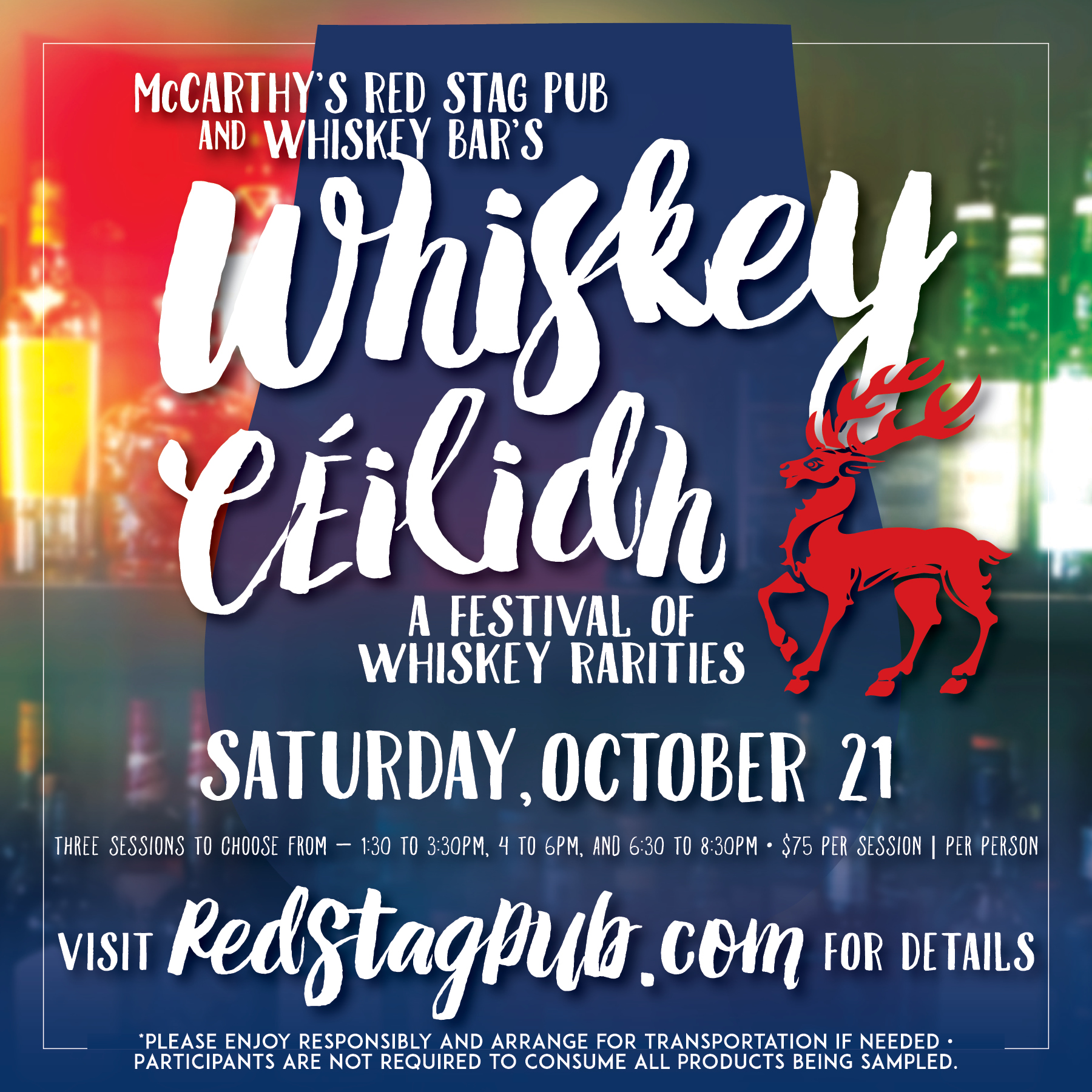 WHISKEY CEILIDH FESTIVAL • INSTAGRAM ADVERTISEMENT   CLIENT: McCARTHY'S RED STAG PUB AND WHISKEY BAR • BETHLEHEM, PA BRIEF: Attract whiskey drinkers to McCarthy's first annual whiskey festival. PLACEMENT: McCarthy's Red Stag Pub Instagram Account WORK: Copy writing and layout through Adobe InDesign. Vector graphics
