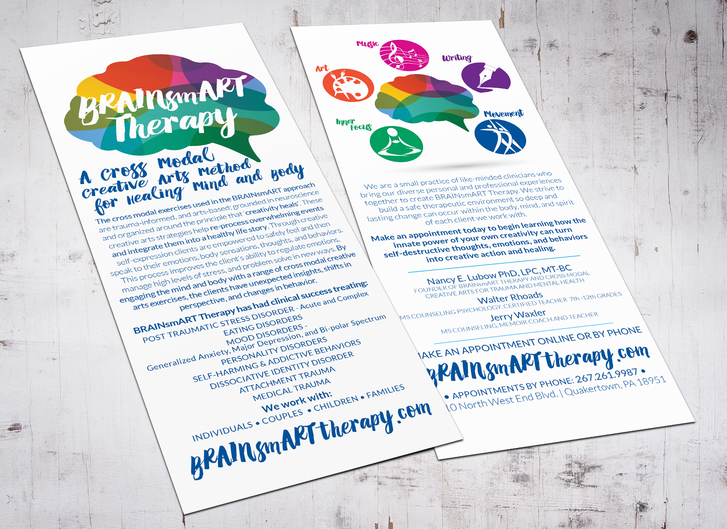 BRAINSMART THERAPY • 4 x 9 RACKCARDS  The copy used on the cards was rewritten to better market the therapy practice and convey an accurate sense of what the BRAINsmART therapy method was all about.