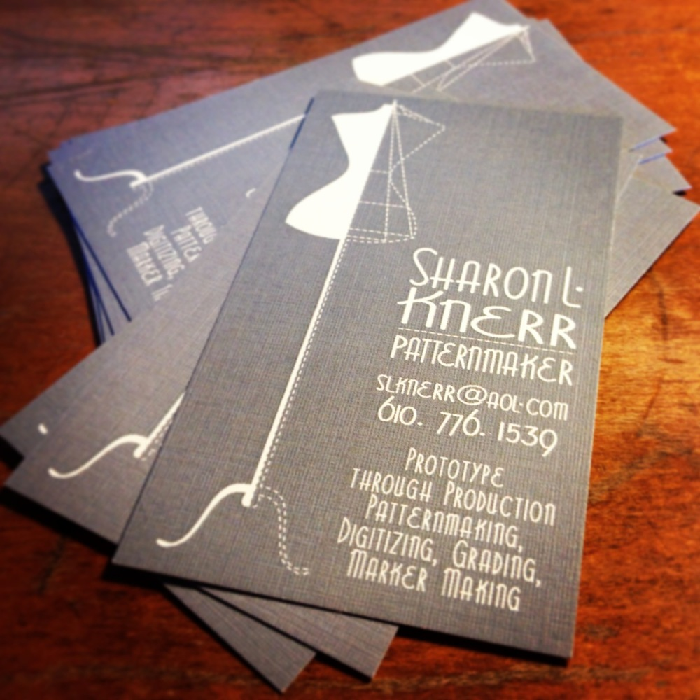 PATTERNMAKER BUSINESS CARD • STANDARD SIZE  Printed on linen card stock.