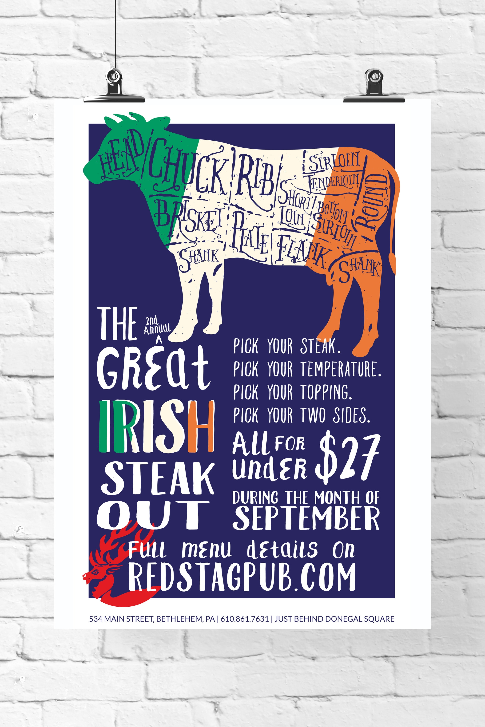 GREAT IRISH STEAK OUT • 11x17 PROMOTIONAL POSTER  CLIENT: McCARTHY'S RED STAG PUB AND WHISKEY BAR BRIEF: Create materials to promote the a la carte steak menu option during the month of September. WORK: Adobe Illustrator + InDesign