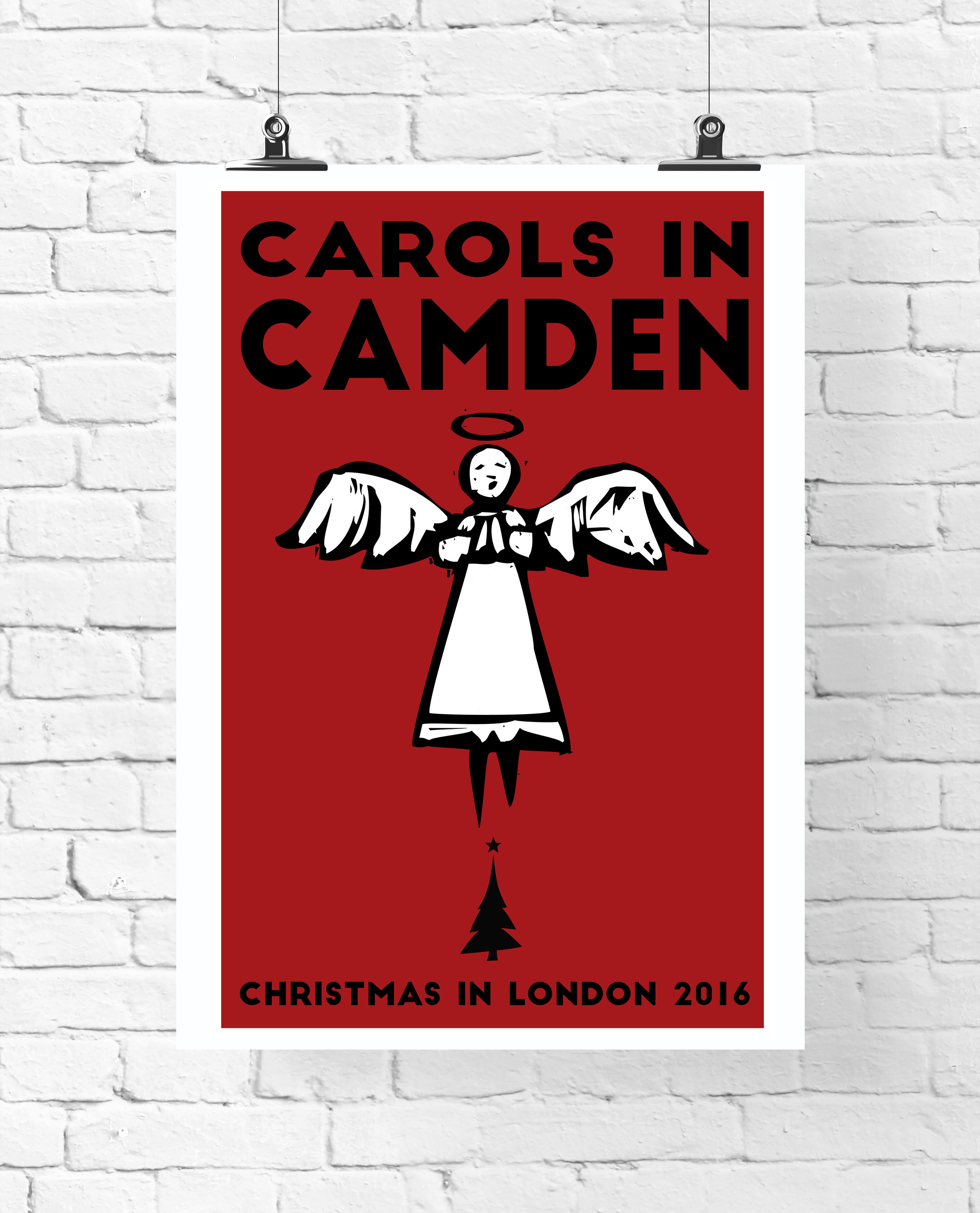 """CAROLS IN CAMDEN 24 x 36"""" POSTER  A poster created to decorate the bar decorated as a London newspaper booth, as from the 2007 Christmas episode, """"A Voyage of the Damned""""."""
