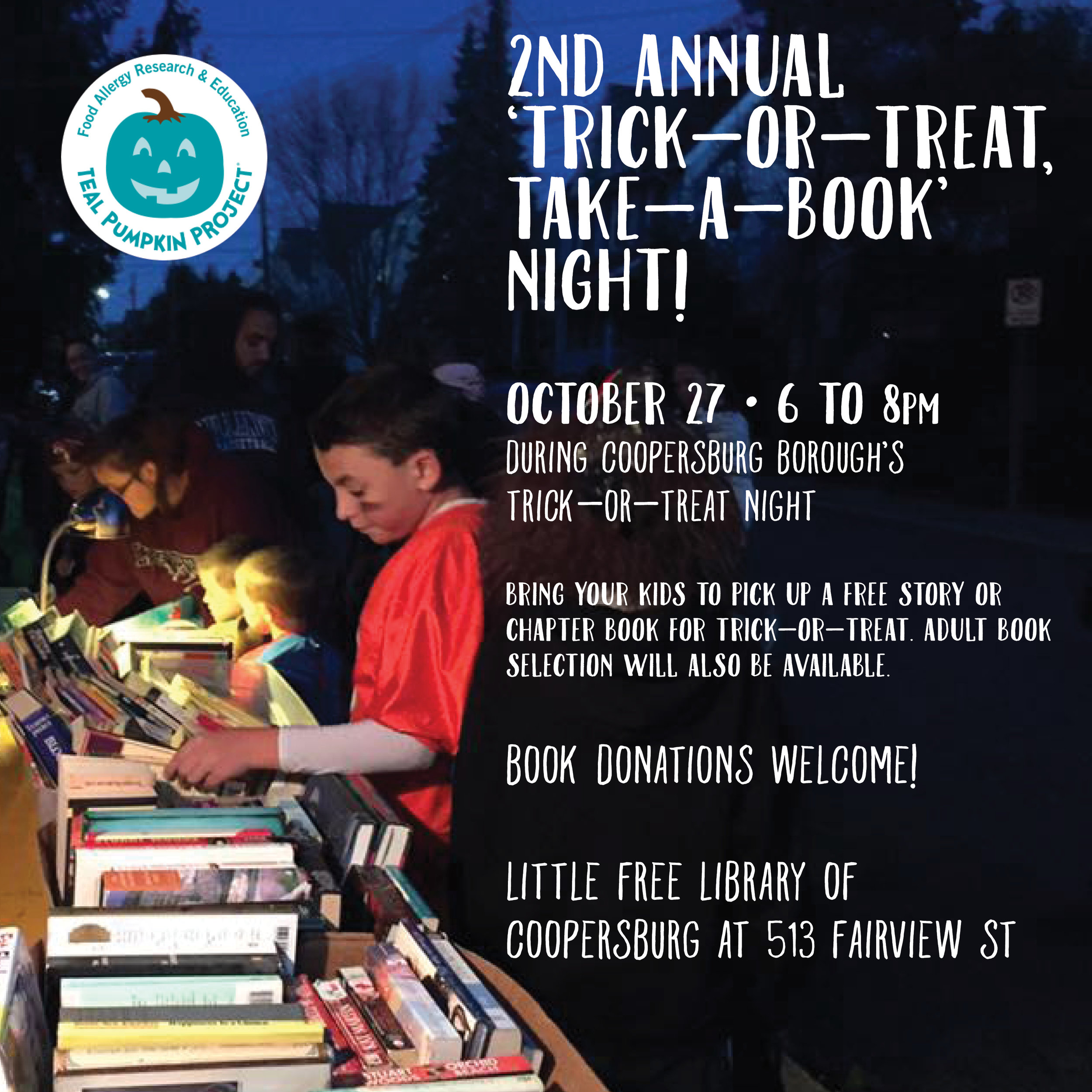 2nd ANNUAL 'TRICK-OR- TREAT, TAKE- A- BOOK NIGHT  Gave away over 250  childrens'  books in under two hours.