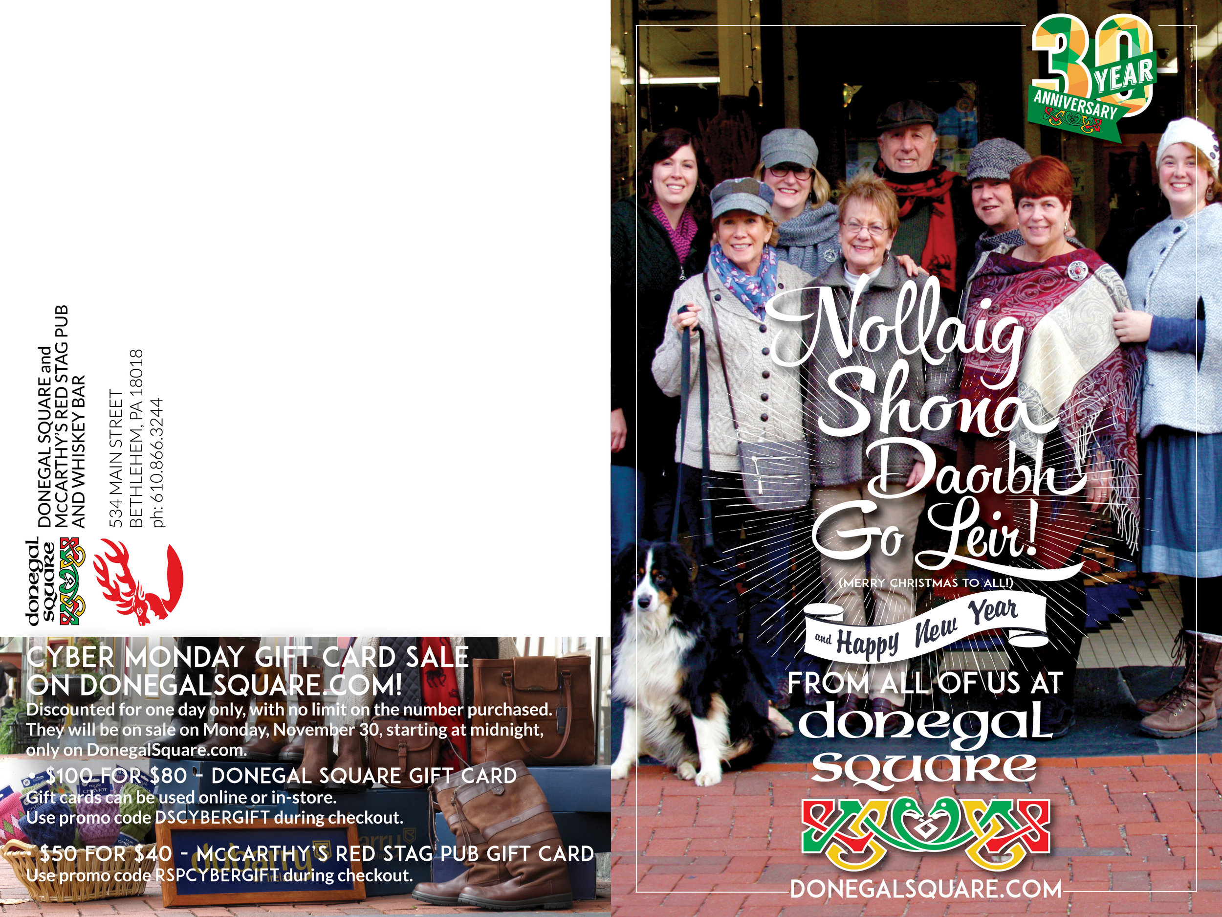 ANNUAL WINTER NEWS MAILER • 12 x 9 FOLDED  CLIENT: DONEGAL SQUARE + MCCARTHY'S RED STAG PUB PLACEMENT: Mailed out to 5,000+ customer list. WORK: Adobe Illustrator + InDesign