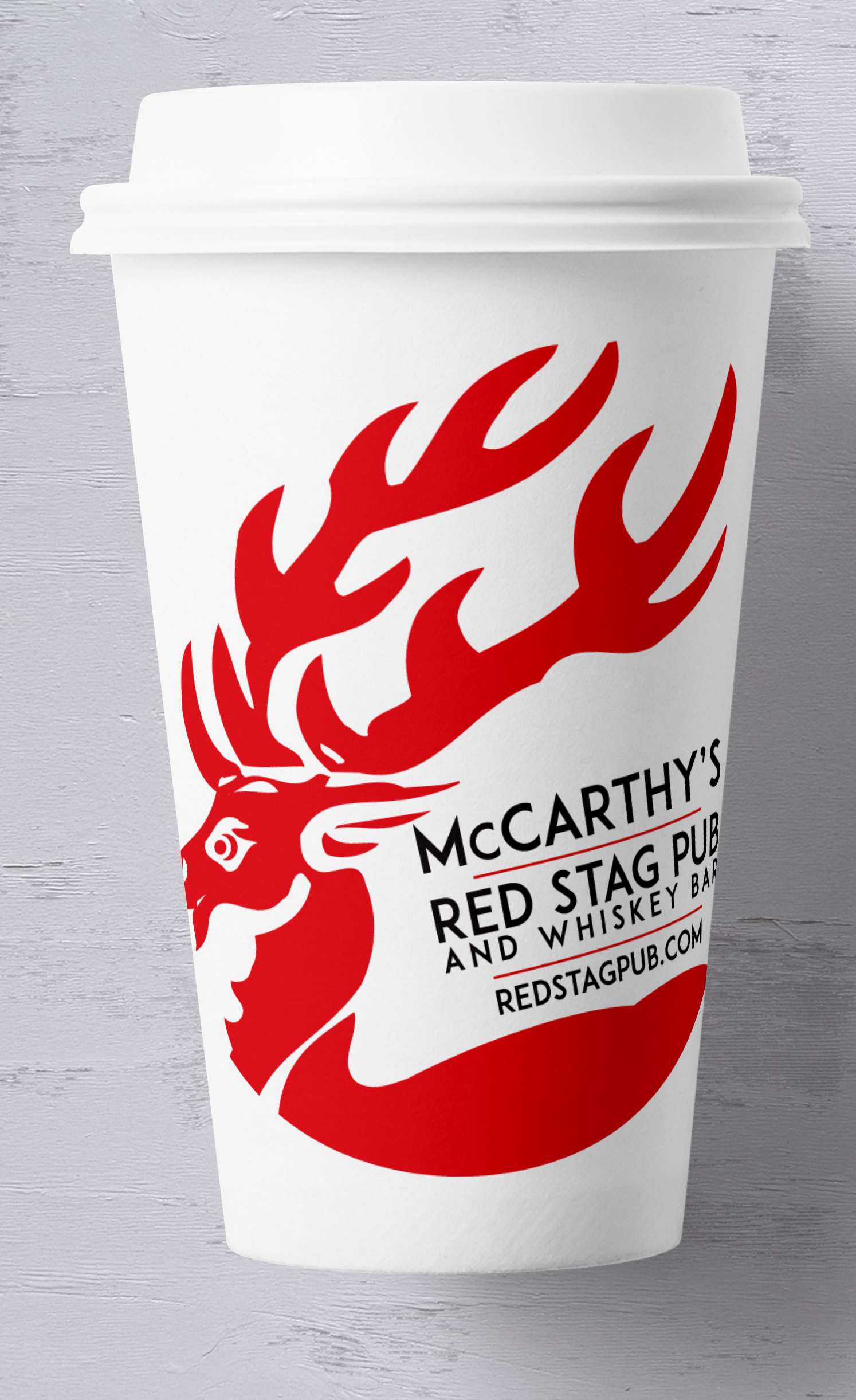 McCARTHY'S CONCEPTUAL TAKE AWAY COFFEE CUP CLIENT: McCARTHY'S RED STAG PUB • BETHLEHEM, PA A wish, that sadly, was discarded due to budget constraints.
