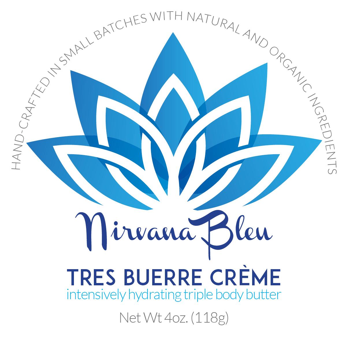 Nirvana Bleu Tres Buerre Créme 2 inch round lid label.