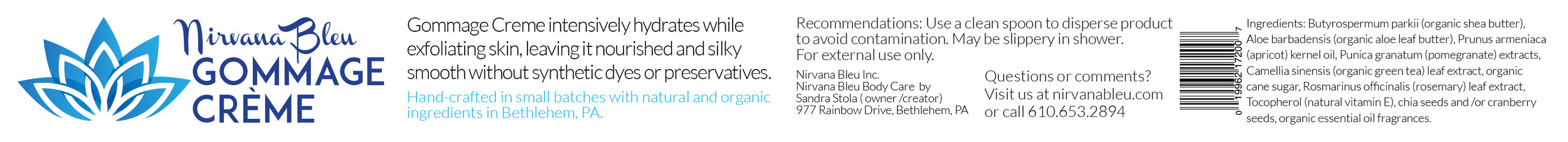 Nirvana Bleu Gommage Créme 11x1 inch side label.