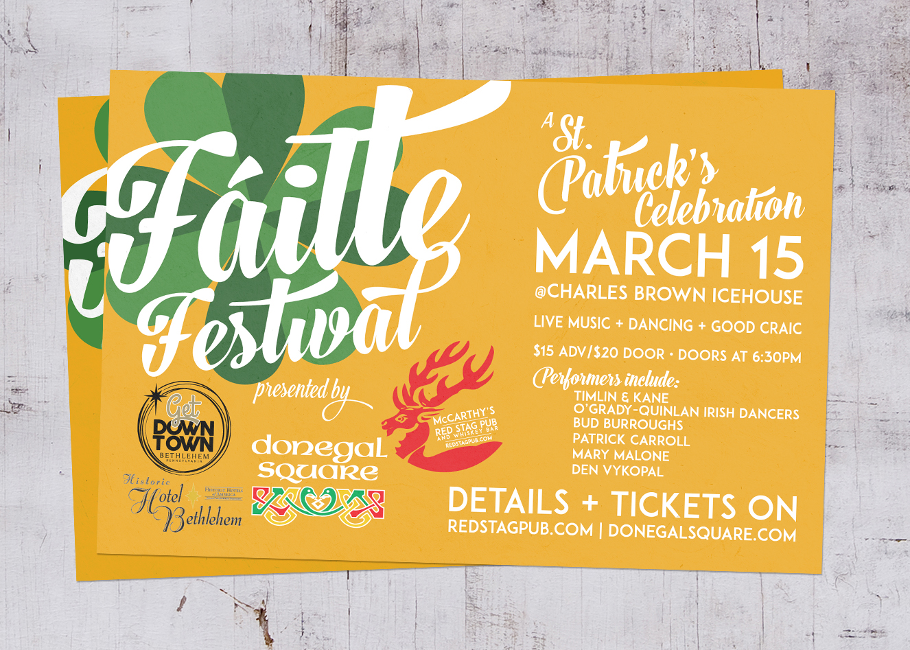 FAILTE FESTIVAL • 4 x 6 POSTCARD CLIENT: UNUSED BY DONEGAL SQUARE WORK: Adobe InDesign + Illustrator