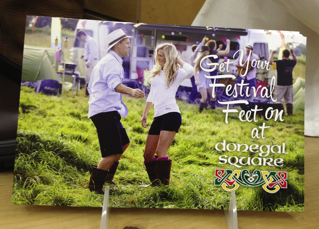 DUBARRY BOOTS 'FESTIVAL FEET' • 4 x 6 POSTCARD CLIENT: DONEGAL SQUARE BRIEF: Postcard to announce the sale of  Dubarry Boots  and clothing at  Donegal Square . WORK: Adobe InDesign