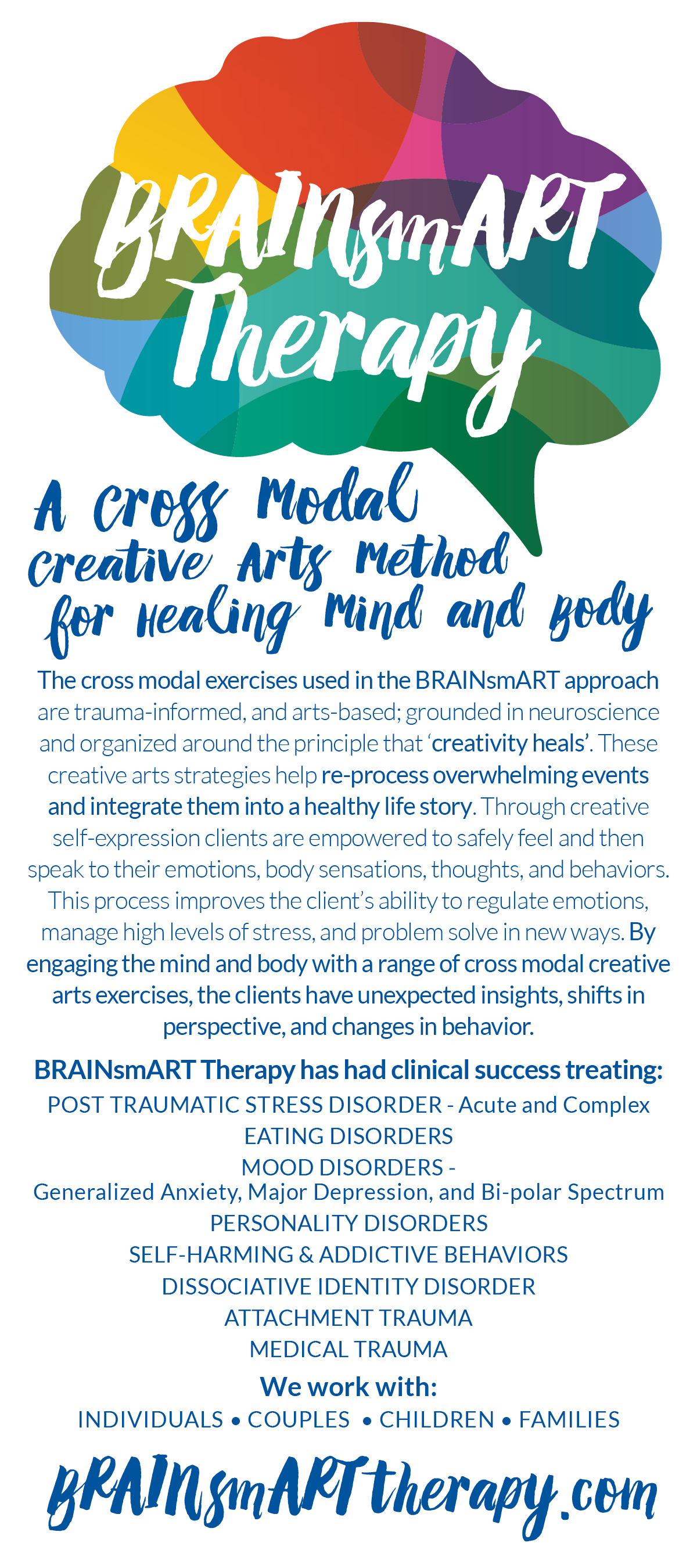 BRAINSMART THERAPY • 4 x 9 RACK CARD  CLIENT: BRAINSMART THERAPY WORK: Adobe InDesign + Illustrator. Co-wrote  copy  with  Nancy Lubow PhD , LPC, MT-BC Logo Design by Kat Moyer Media + Design
