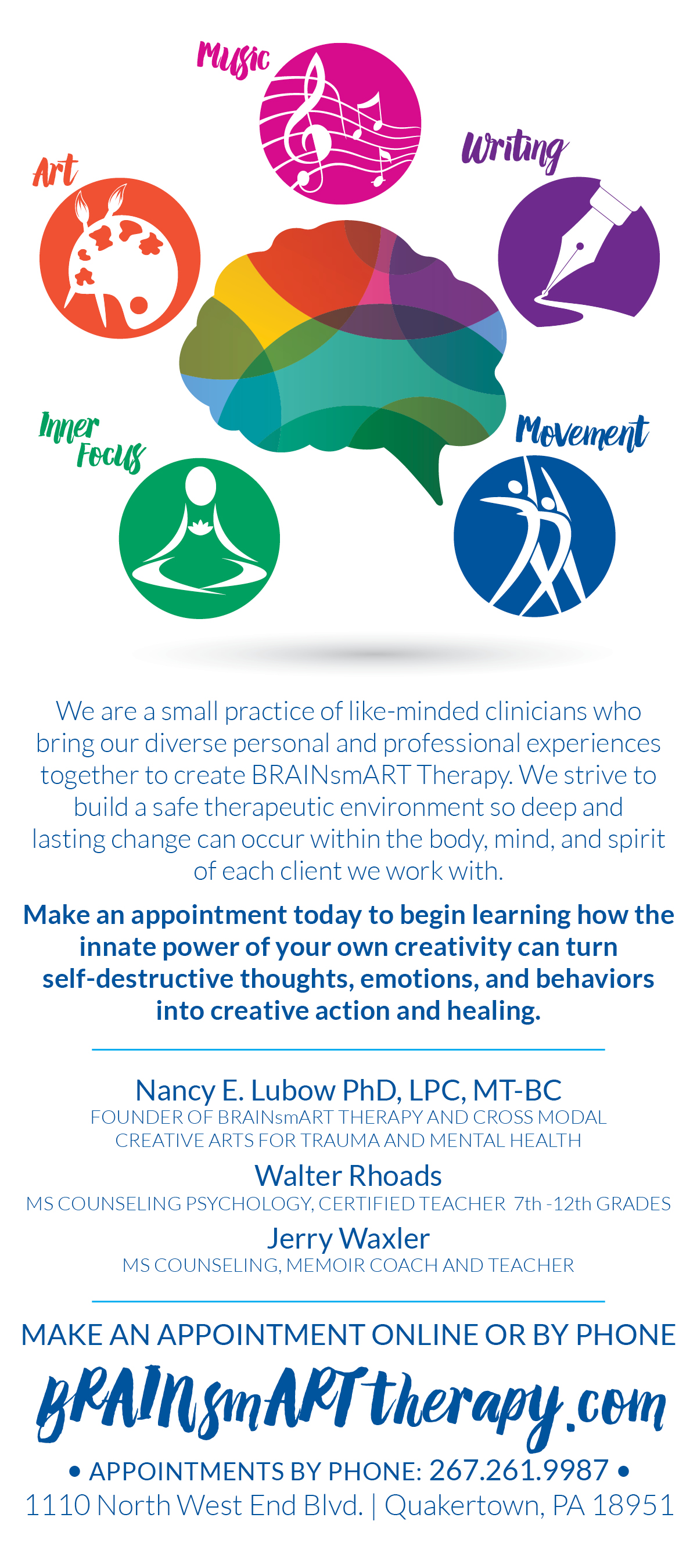 BRAINSMART THERAPY • 4 x 9 RACK CARD  CLIENT: BRAINSMART THERAPY WORK: Adobe InDesign + Illustrator. Co-wrote copy with Nancy Lubow PhD, LPC, MT-BC Logo Design by Kat  Moyer Media  + Design