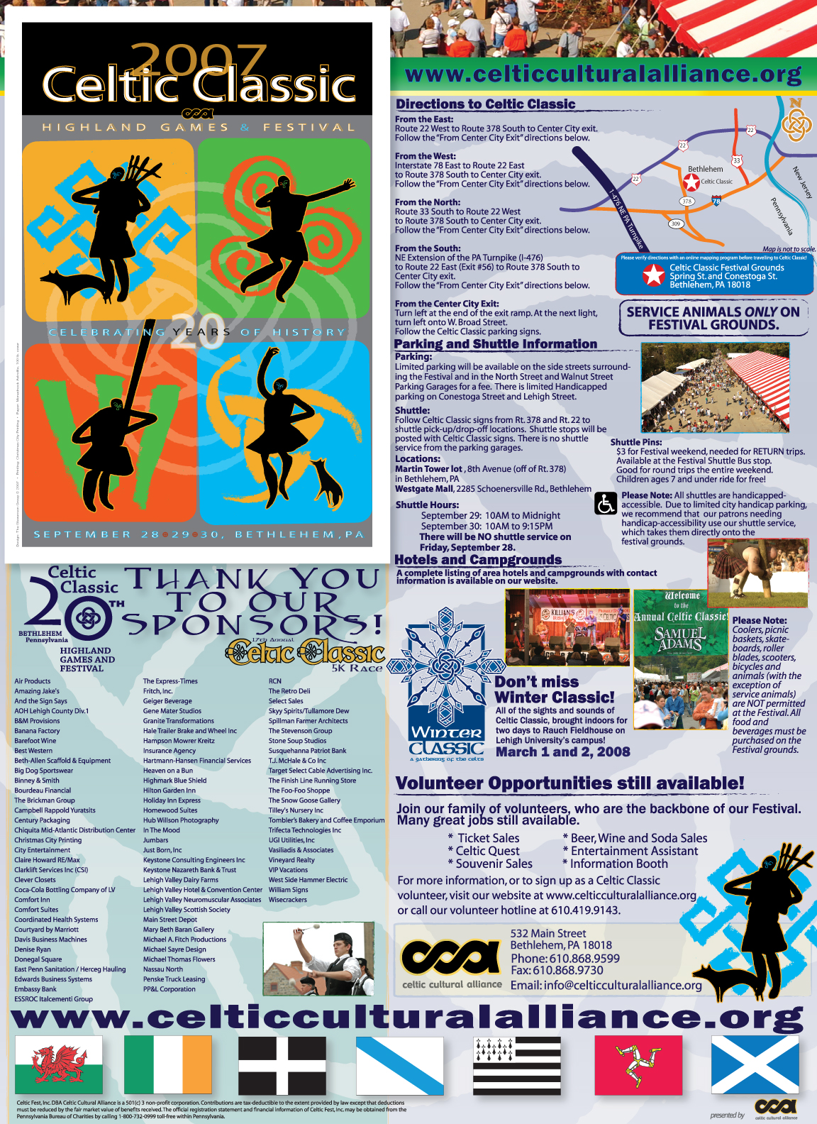 2007 CELTIC CLASSIC MAILER + FESTIVAL INFORMATION HANDOUT • 12.5 x 17.6 MAILER + POSTER  CLIENT: Celtic Cultural Alliance PLACEMENT: Piece was both mailed out to Celtic Classic's 10,000+ mailing list and handed out to the record amount of visitors (300,000 +) of the 20th Anniversary Celtic Classic in 2007.