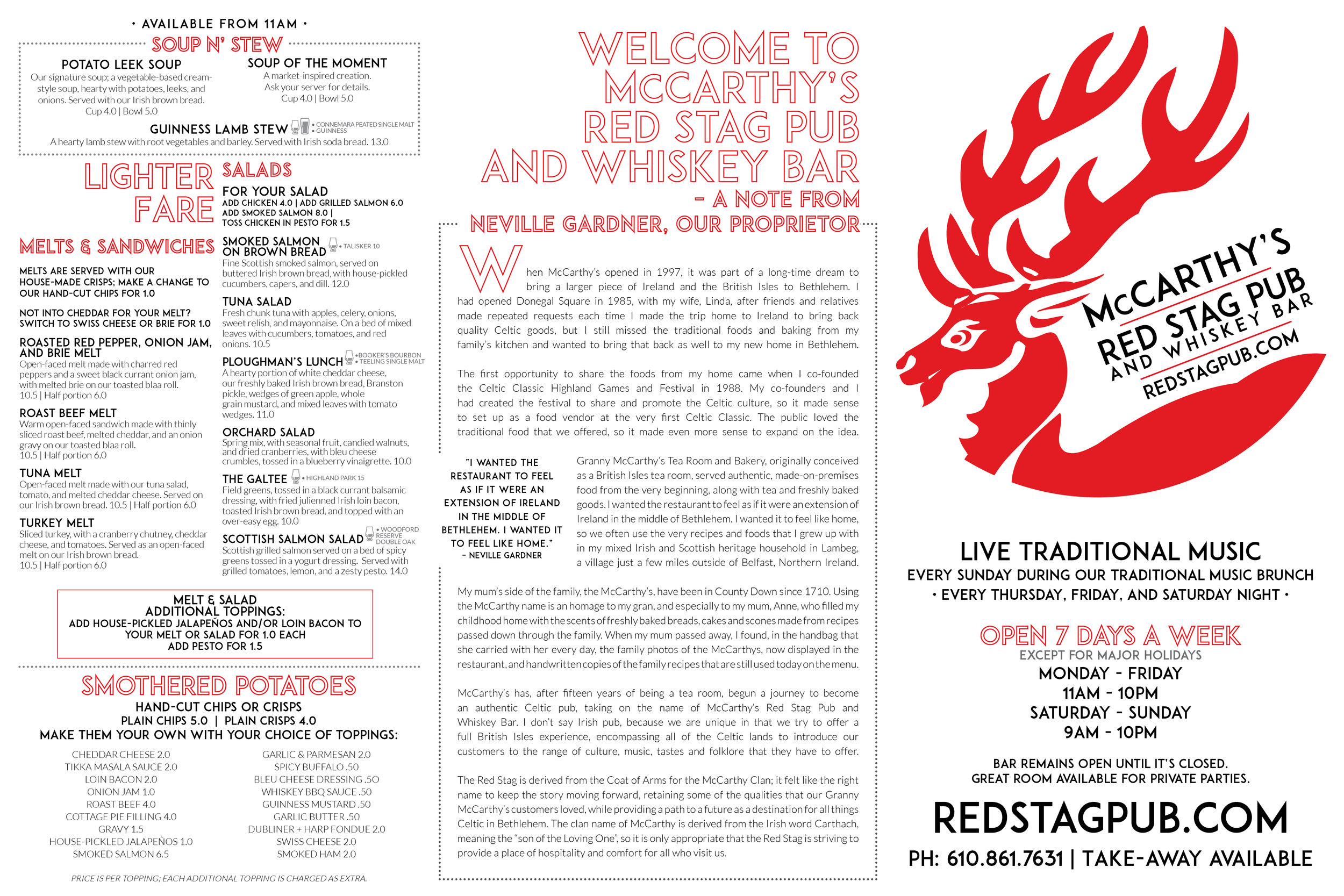 McCARTHY'S MAIN MENU • 18x12 TRI-FOLD MENU  CLIENT: McCARTHY'S RED STAG PUB AND WHISKEY BAR BRIEF: Create an easy to read in low light menu featuring the pub's new offerings and McCarthy's history. WORK: Adobe InDesign