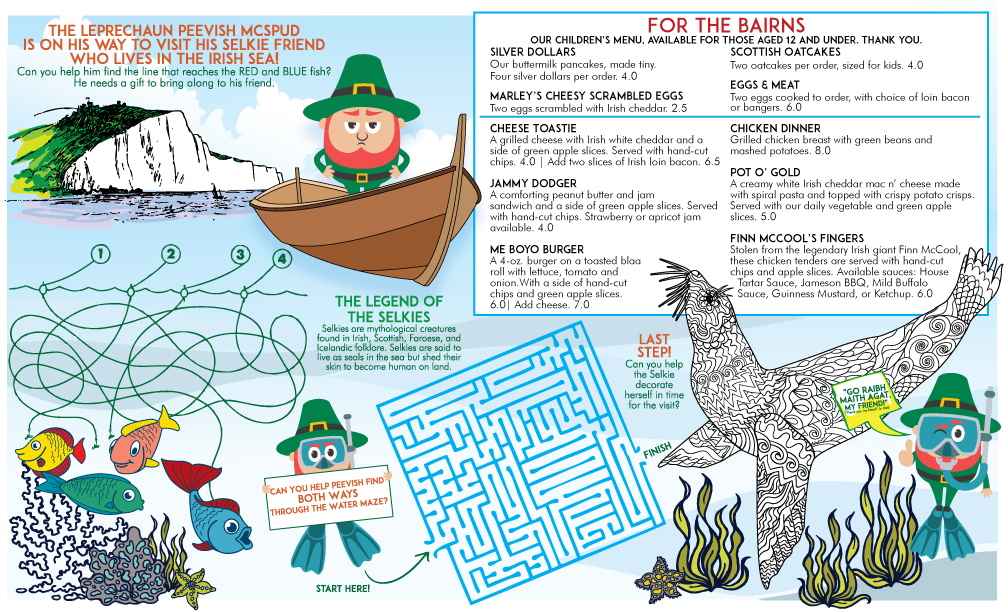 PEEVISH McSPUD + THE SELKIES • 11x14 CHILDREN'S MENU  CLIENT: McCARTHY'S RED STAG PUB AND WHISKEY BAR BRIEF: Create an interactive children's menu based on the Irish legend of the Selkies. WORK: Adobe Illustrator