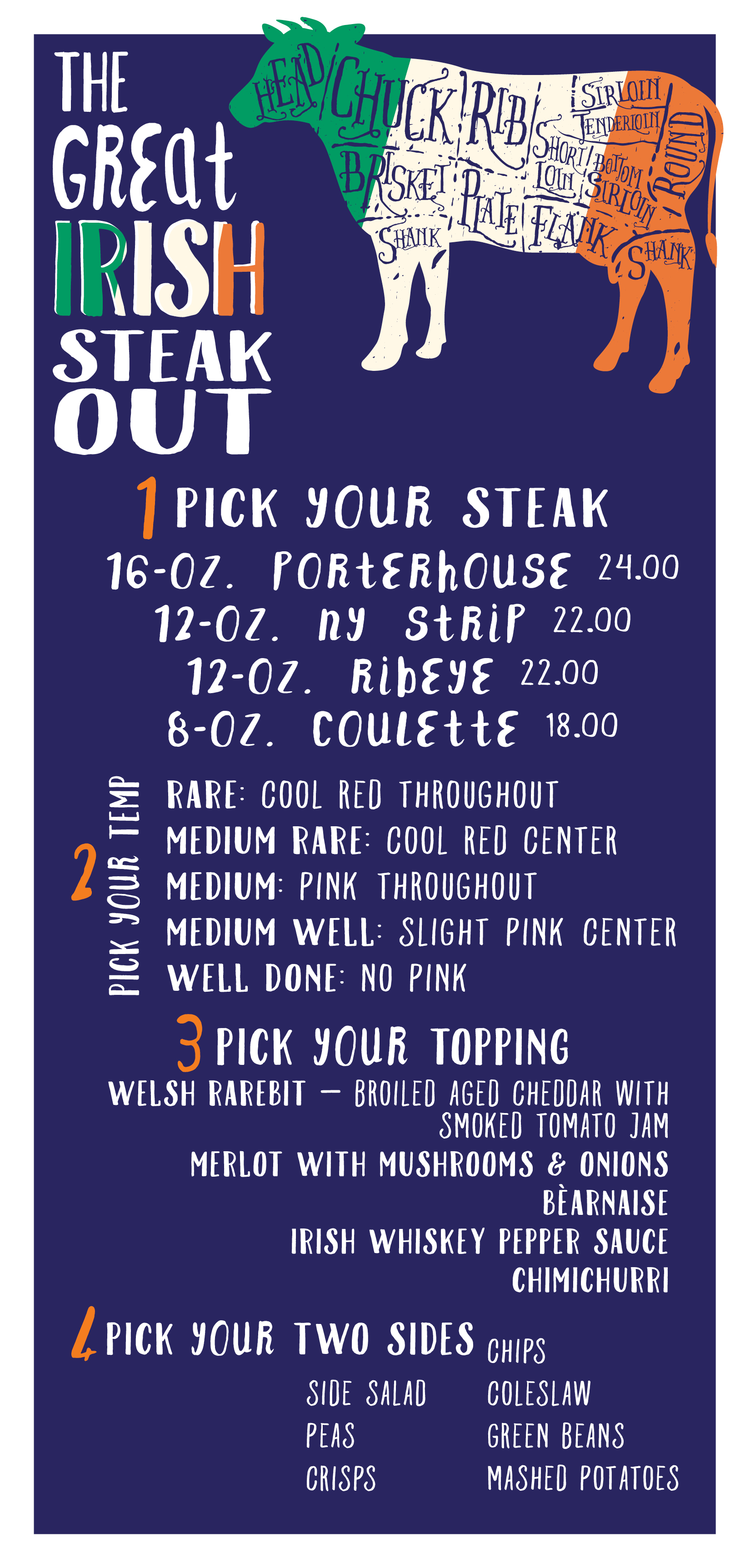 GREAT IRISH STEAK OUT • 5.5 x 11 MENU INSERT  CLIENT: McCARTHY'S RED STAG PUB AND WHISKEY BAR BRIEF: Create materials to promote the a la carte steak menu option during the month of September. WORK: Adobe Illustrator + InDesign
