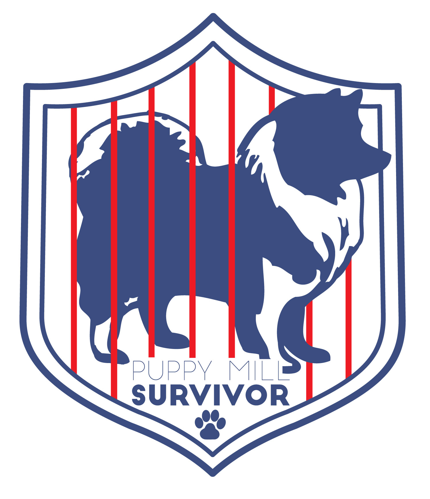 KEESHOND PUPPY MILL SURVIVOR BADGE