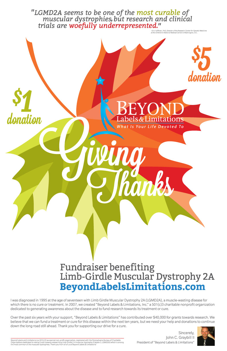 'GIVING THANKS' • 11x17 DONATION POSTER  CLIENT: BEYOND LABELS & LIMITATIONS WORK: Adobe Illustrator, Adobe InDesign