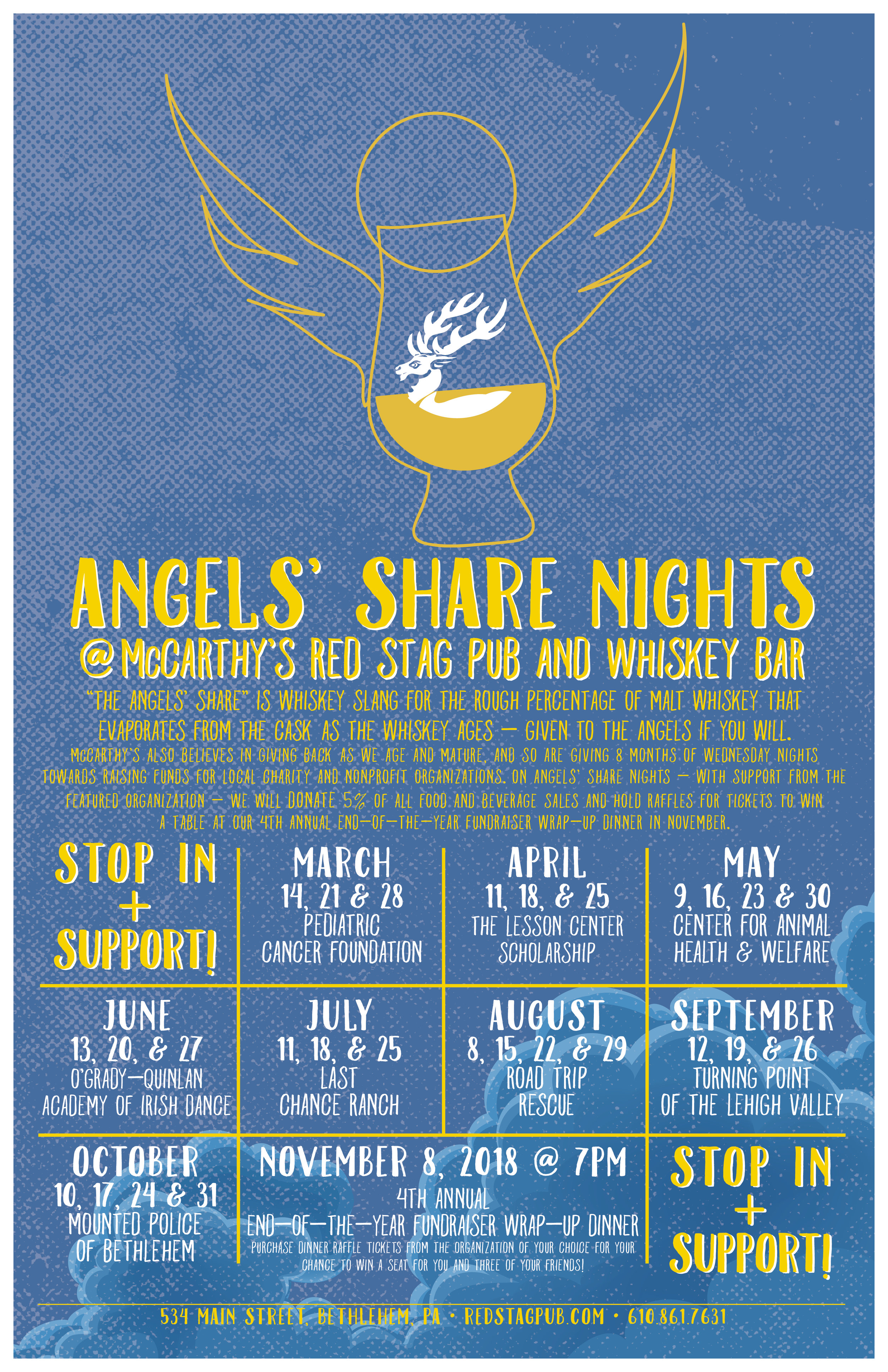 'ANGELS' SHARE NIGHTS' • 11x17 POSTER  CLIENT: McCARTHY'S RED STAG PUB AND WHISKEY BAR