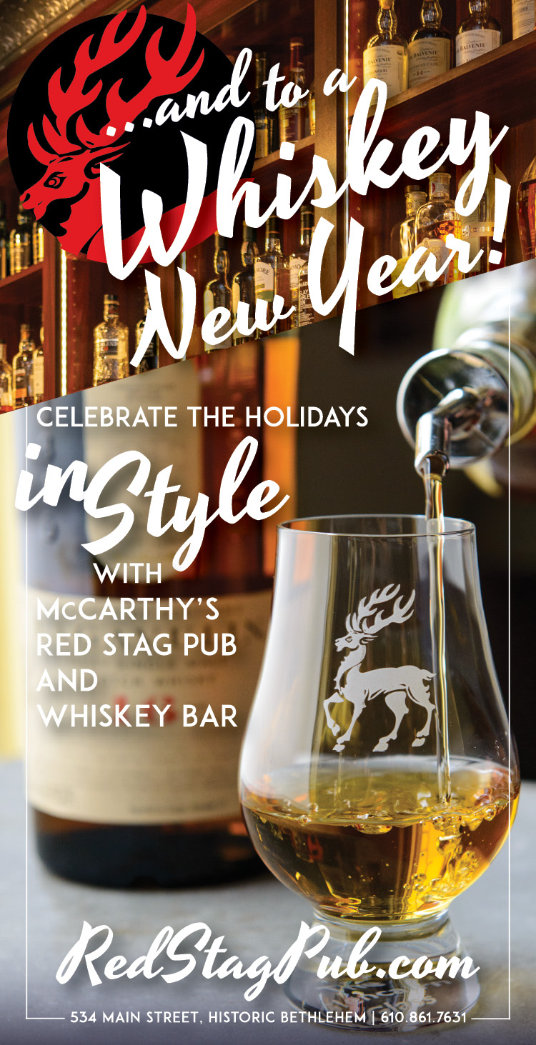 """""""…AND A WHISKEY NEW YEAR!"""" • 2.5x4.875"""" PRINT ADVERTISEMENT  CLIENT: McCARTHY'S RED STAG PUB • BETHLEHEM, PA BRIEF: Celebrate the Holidays at McCarthy's Red Stag Pub and Whiskey Bar. Celebratory toast to the end of a great year. PLACEMENT: Lehigh Valley Style Dining Guide, December 2018 WORK: Copywriting and layout through Adobe InDesign. Photography by Theresa Cantley Consultant."""