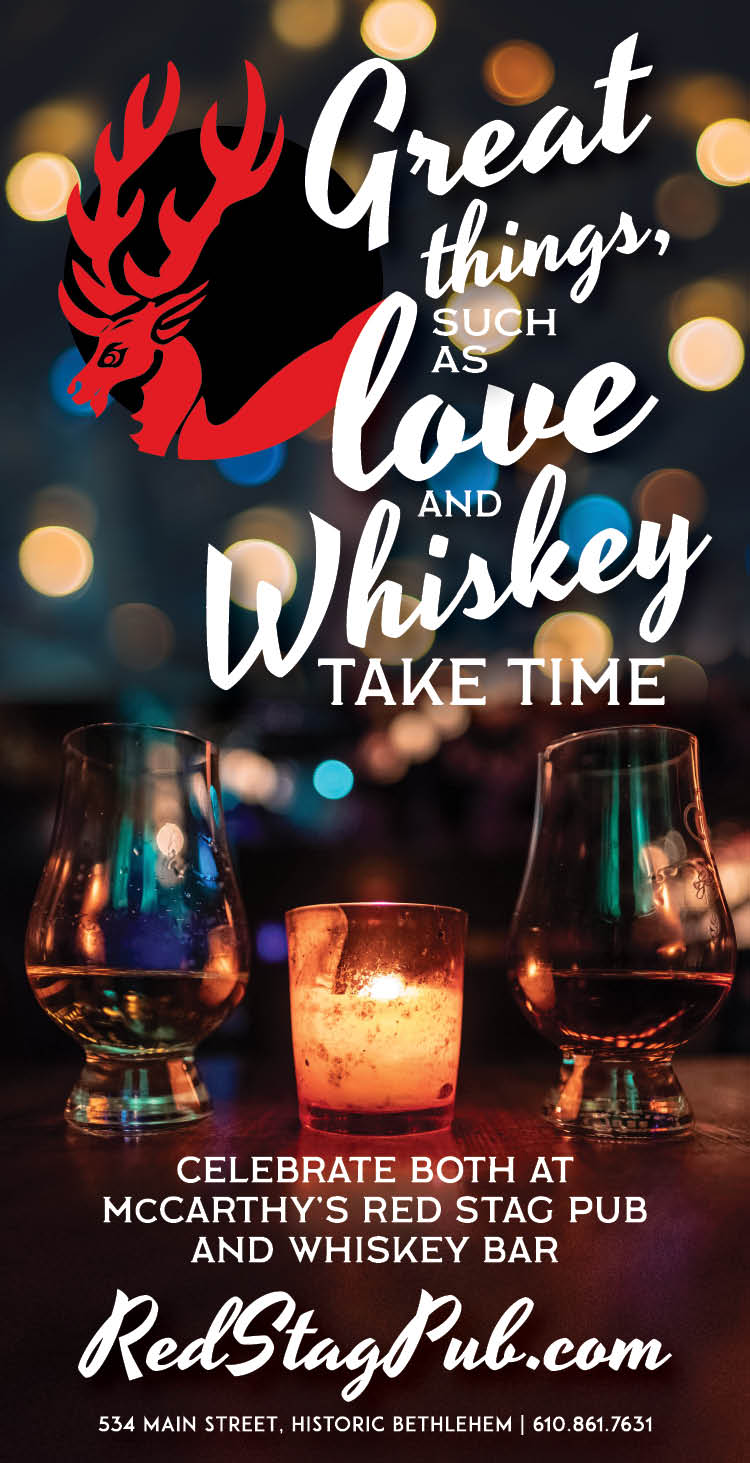 """ROMANTIC WHISKEY"" • 2.5x4.875"" PRINT ADVERTISEMENT  CLIENT: McCARTHY'S RED STAG PUB • BETHLEHEM, PA BRIEF: Valentine's Day/ February advertisement for McCarthy's Red Stag Pub PLACEMENT • Lehigh Valley Style, February 2019 WORK: Copywriting and layout through Adobe InDesign. Stock Photography."