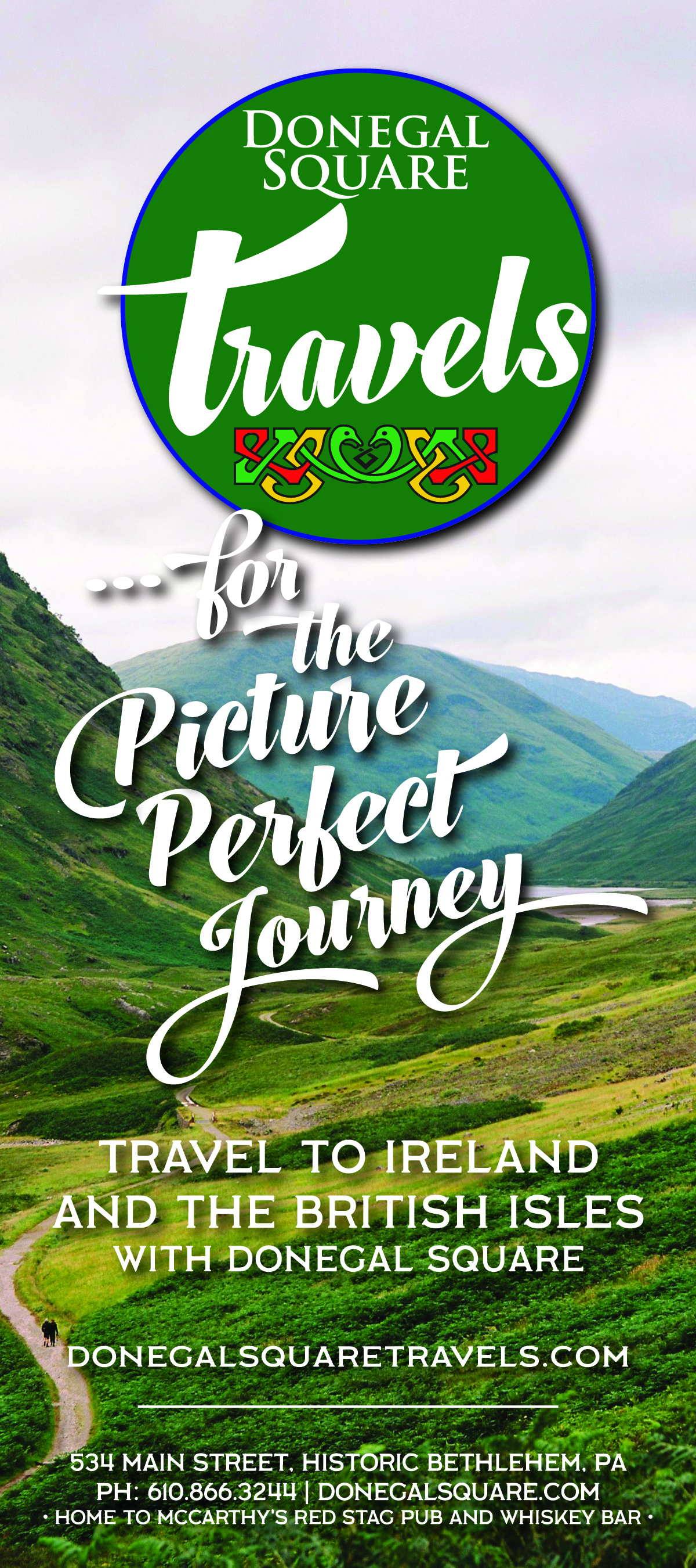 """PICTURE PERFECT JOURNEY • 4x9"""" ADVERTISEMENT   CLIENT: DONEGAL SQUARE TRAVELS • BETHLEHEM, PA BRIEF: Appeal to photographers, Push tours offered by Donegal Square PLACEMENT: Artsquest, InVision Photography Festival Program Book WORK: Copywriting and layout through Adobe InDesign"""