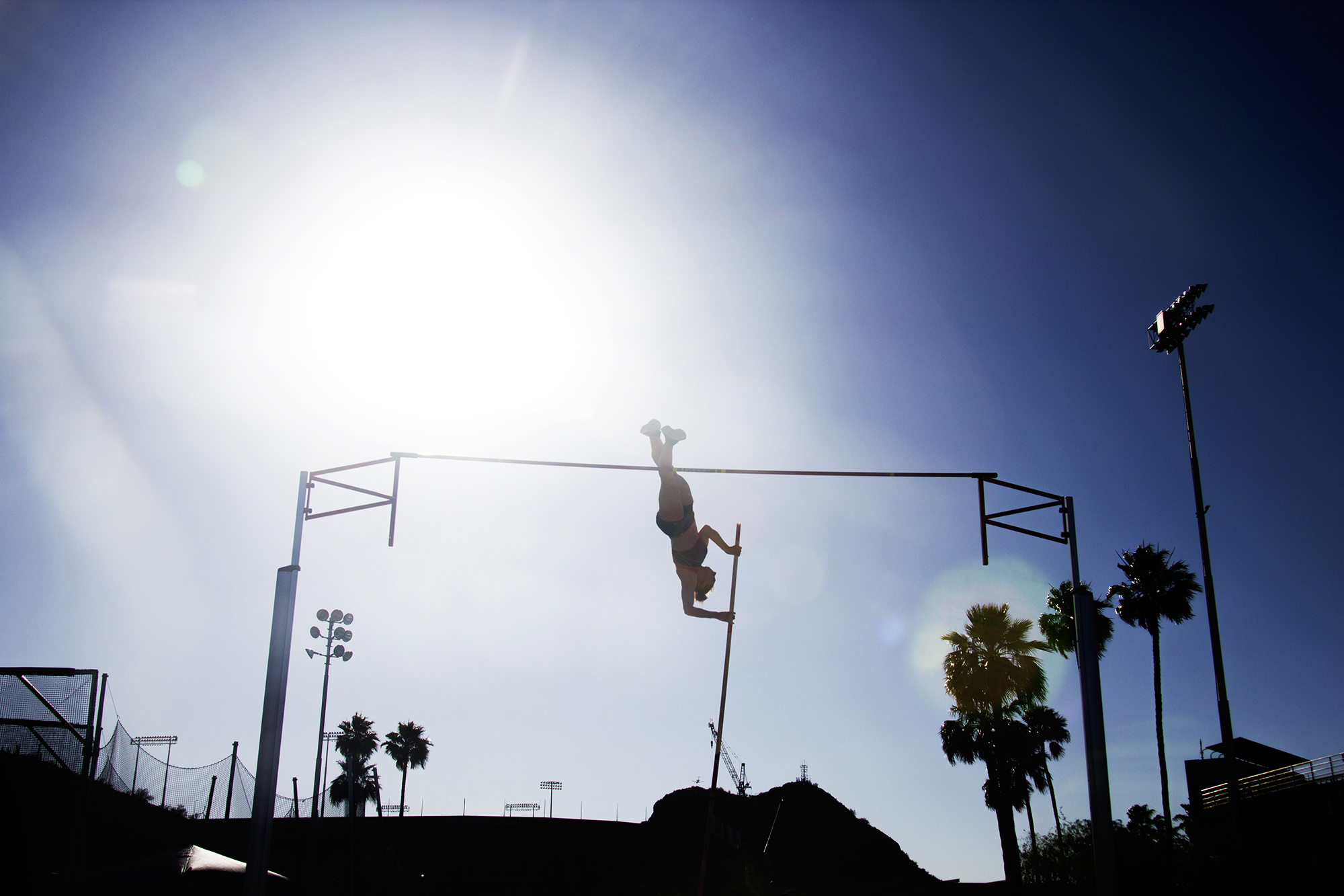 Senior Natalia Bartnovskaya of the University of Kansas, placed second in pole vaulting. Various schools gathered to compete in Tempe, AZ, for the Sun Angels Classic Track Meet.