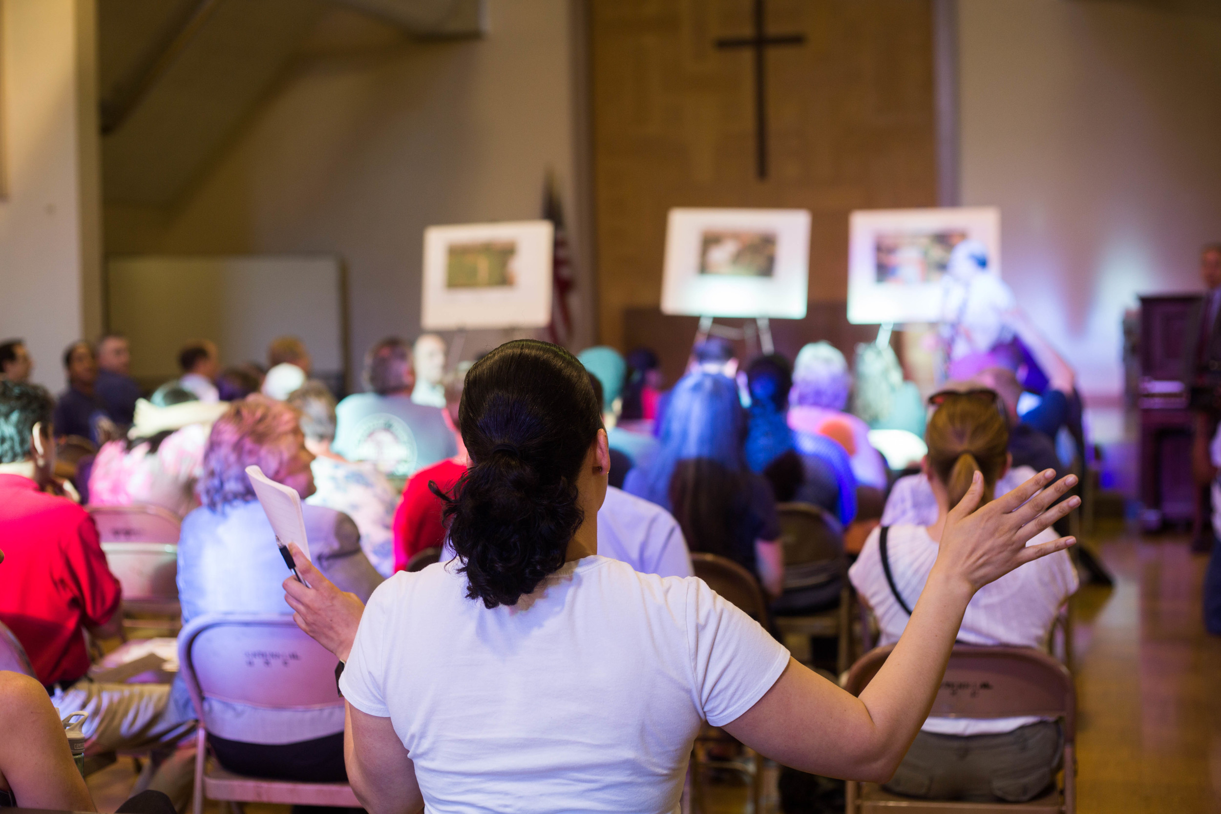 Community meeting held at Centennial Church to discuss former mangan gun range toxic lead contamination in Sacramento, Calif. April 20, 2016.