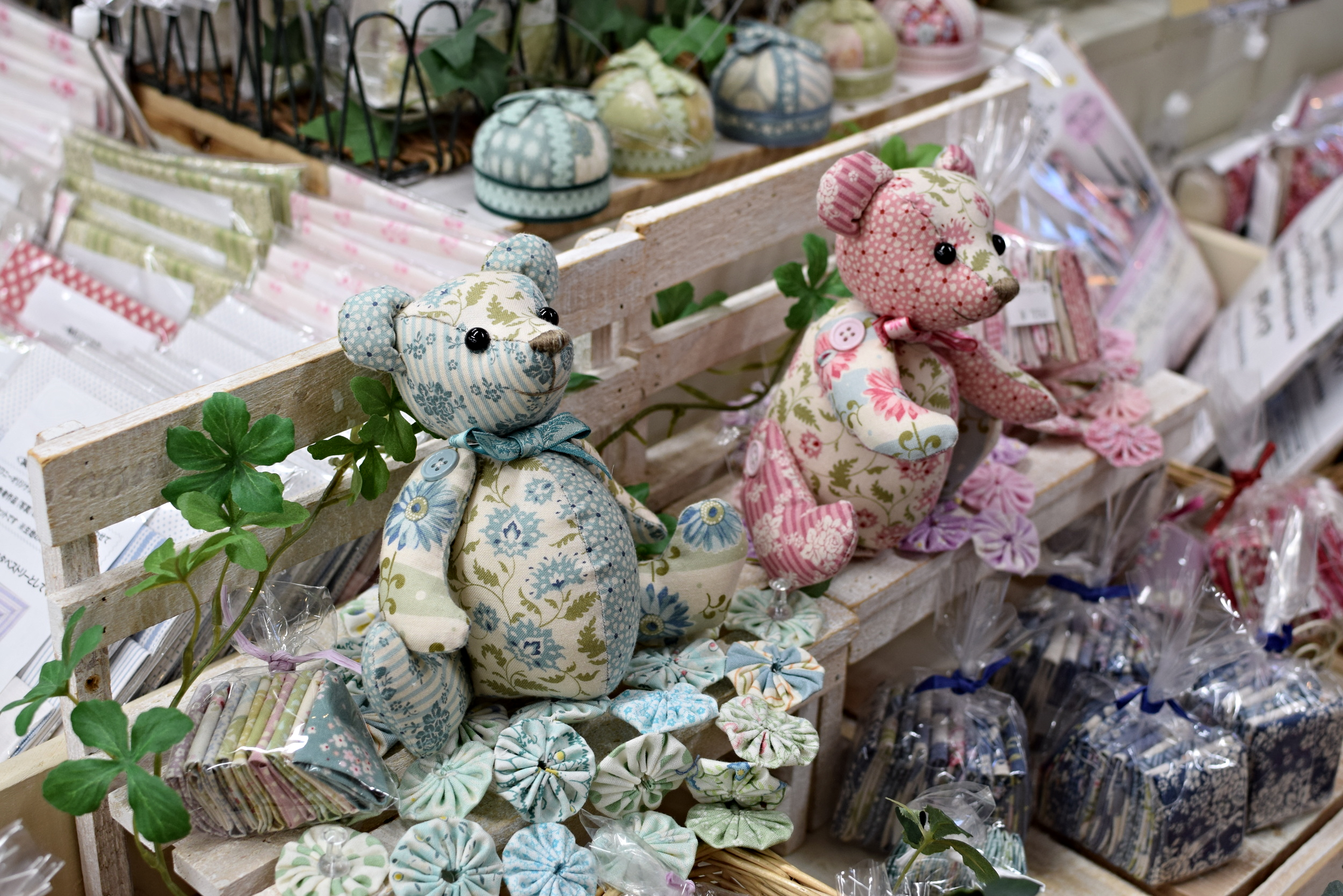 Teddy bears in Tilda fabrics.