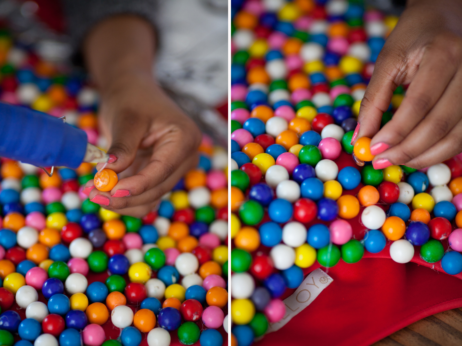 Using your hot glue gun begin gluing your gumballs to the top portion of your red dress!!! This can be time consuming so be sure to put on your favorite holiday movie!