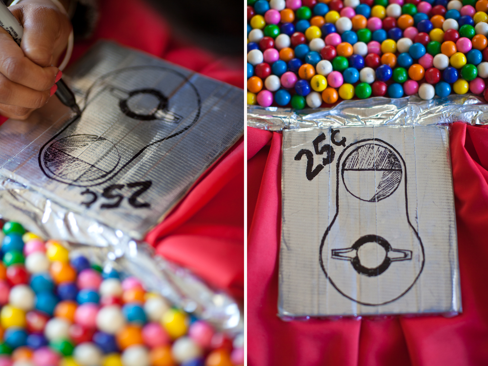 Sketch out a coin slot using your sharpi  e. Glue all four corners to dress under waistline. Let gumballs and coin slot sit overnight.