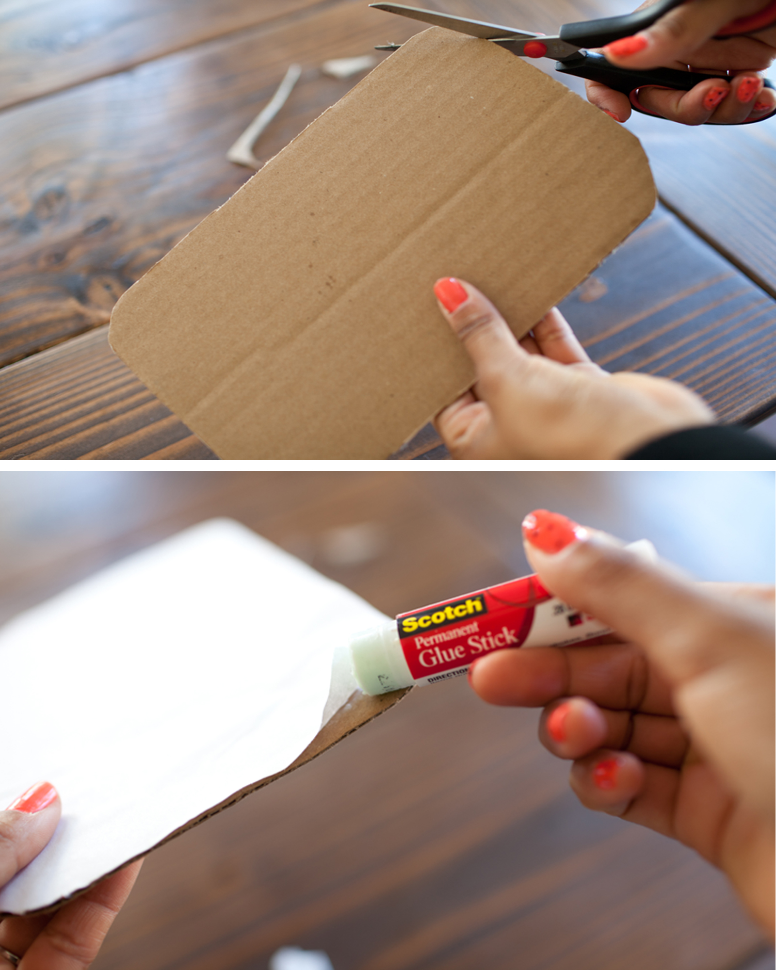 Now that your bag is complete we must work on your tea bag label!!! Take your cardboard piece and cut out a 9''x 5'' piece of cardboard. Take your white piece of paper using your glue stick, glue white paper to cardboard. Use scissors to cut white paper to fit the 9''x5'' size. Glue corners!